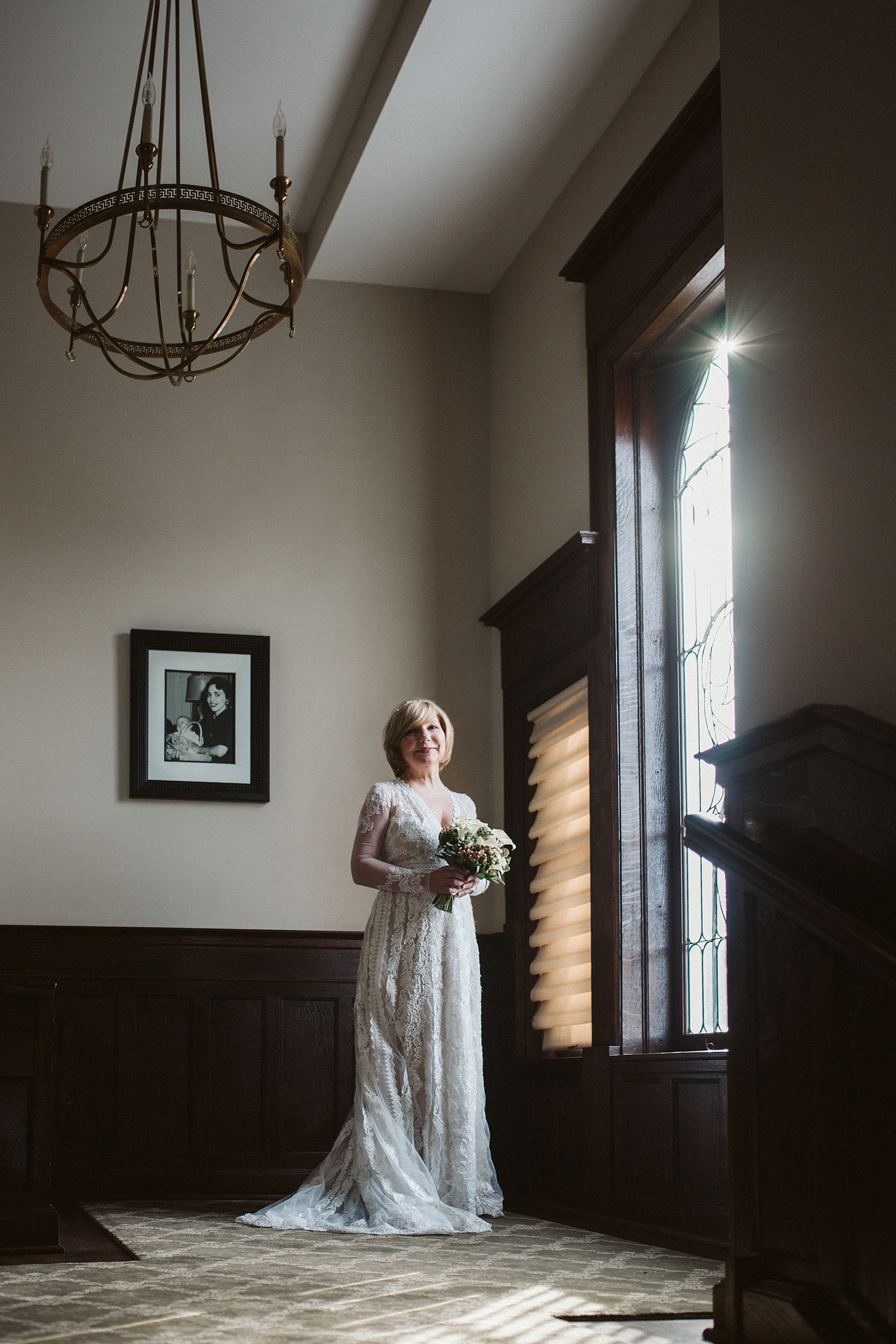 Long Sleeve Floral Wedding Gown Chicago Wedding lisa kathan photography