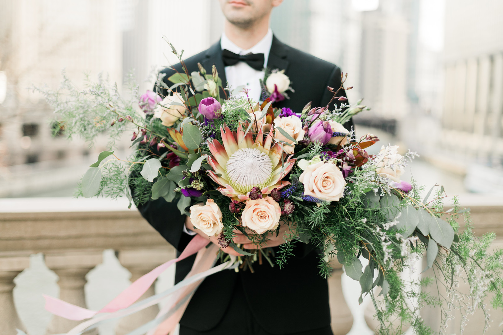 Rose and Floral Bridal Bouquet Chicago Wedding Stephanie Wood Photography