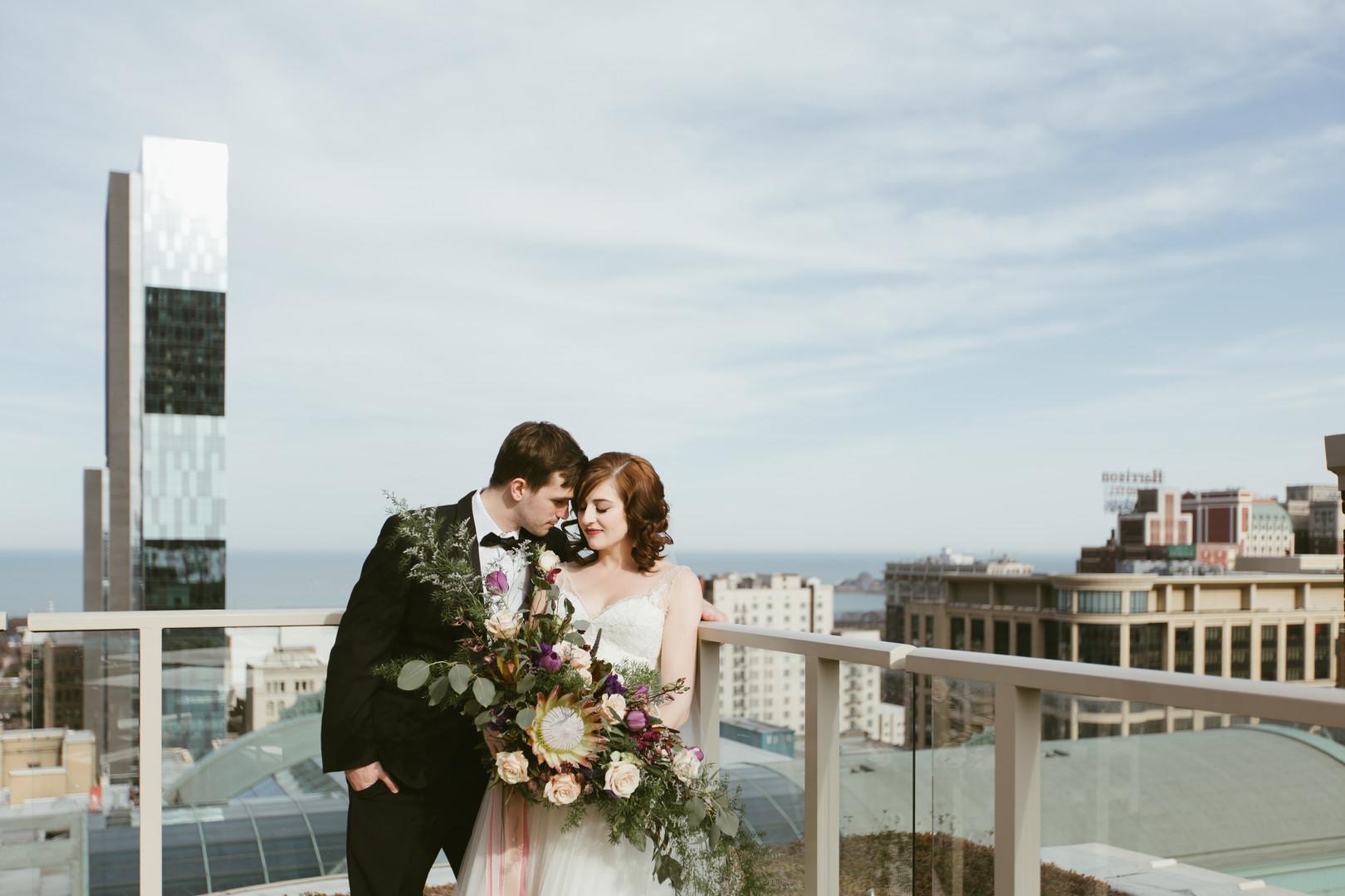 Bride and Groom Romantic Portrait Chicago Wedding Stephanie Wood Photography