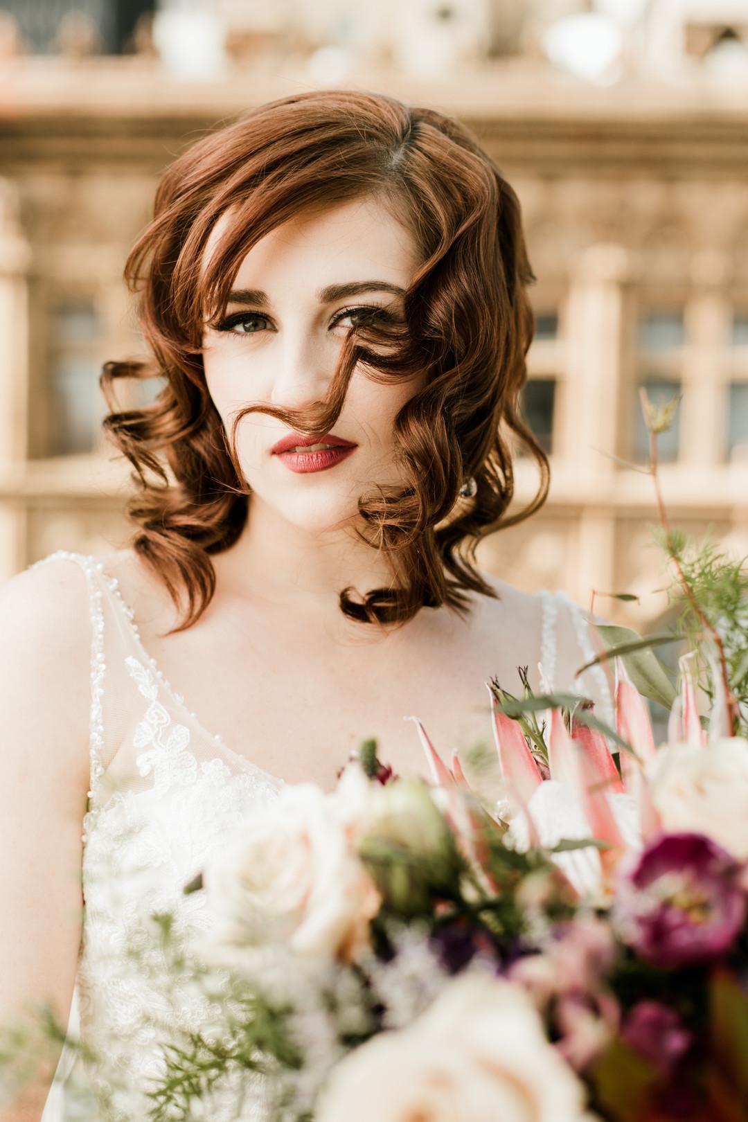 Romantic Bridal Portrait Hair Down Chicago Wedding Stephanie Wood Photography