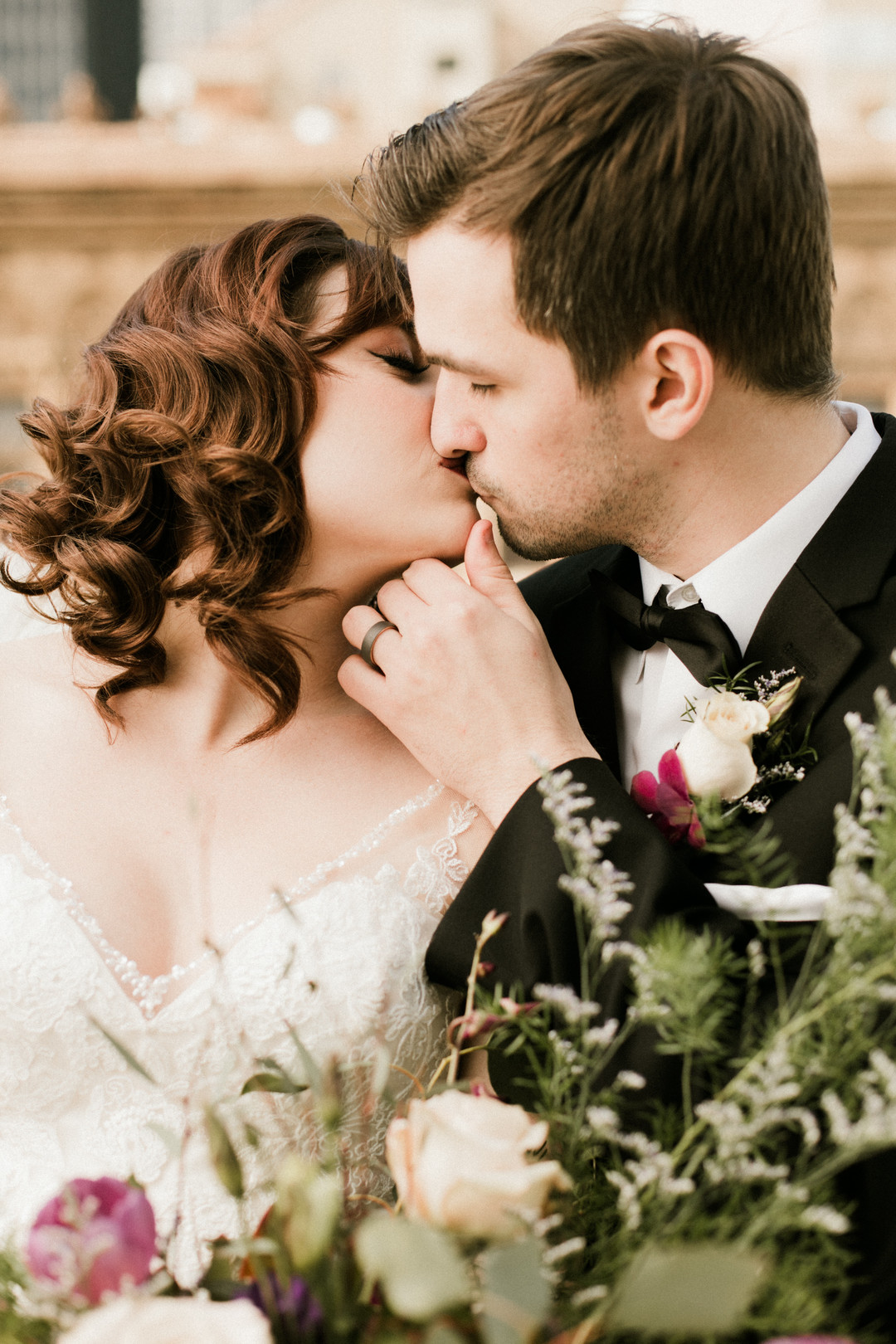 Bride and Groom First Kiss Chicago Wedding Stephanie Wood Photography