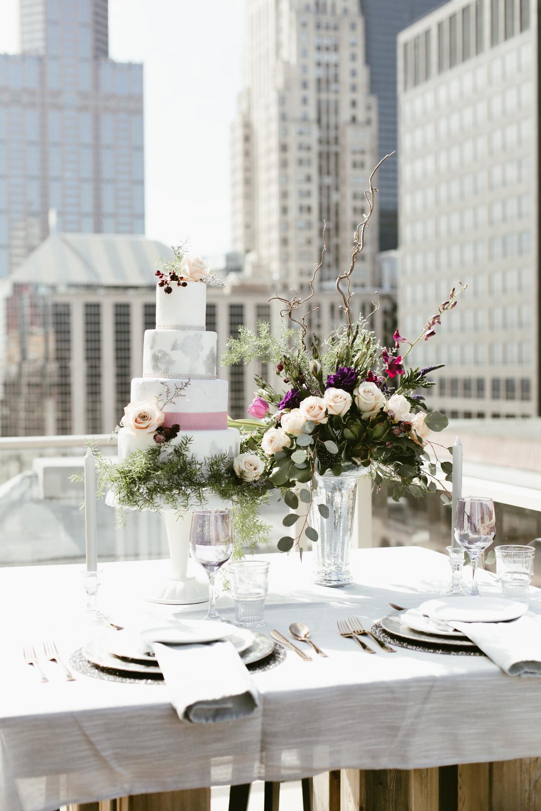 Floral and Greenery Wedding Cake Chicago Wedding Stephanie Wood Photography
