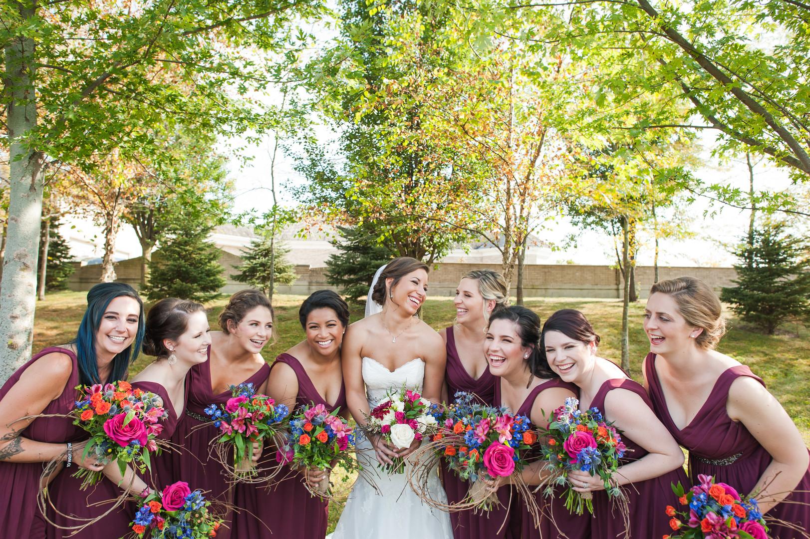 Red Purple Bridal Party Chicago Wedding Elite Photo