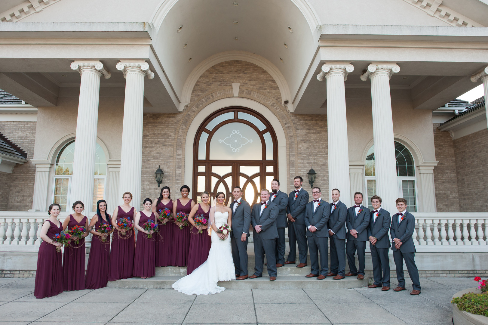 Magenta and Gray Bridal Party Chicago Winery Wedding Elite Photo