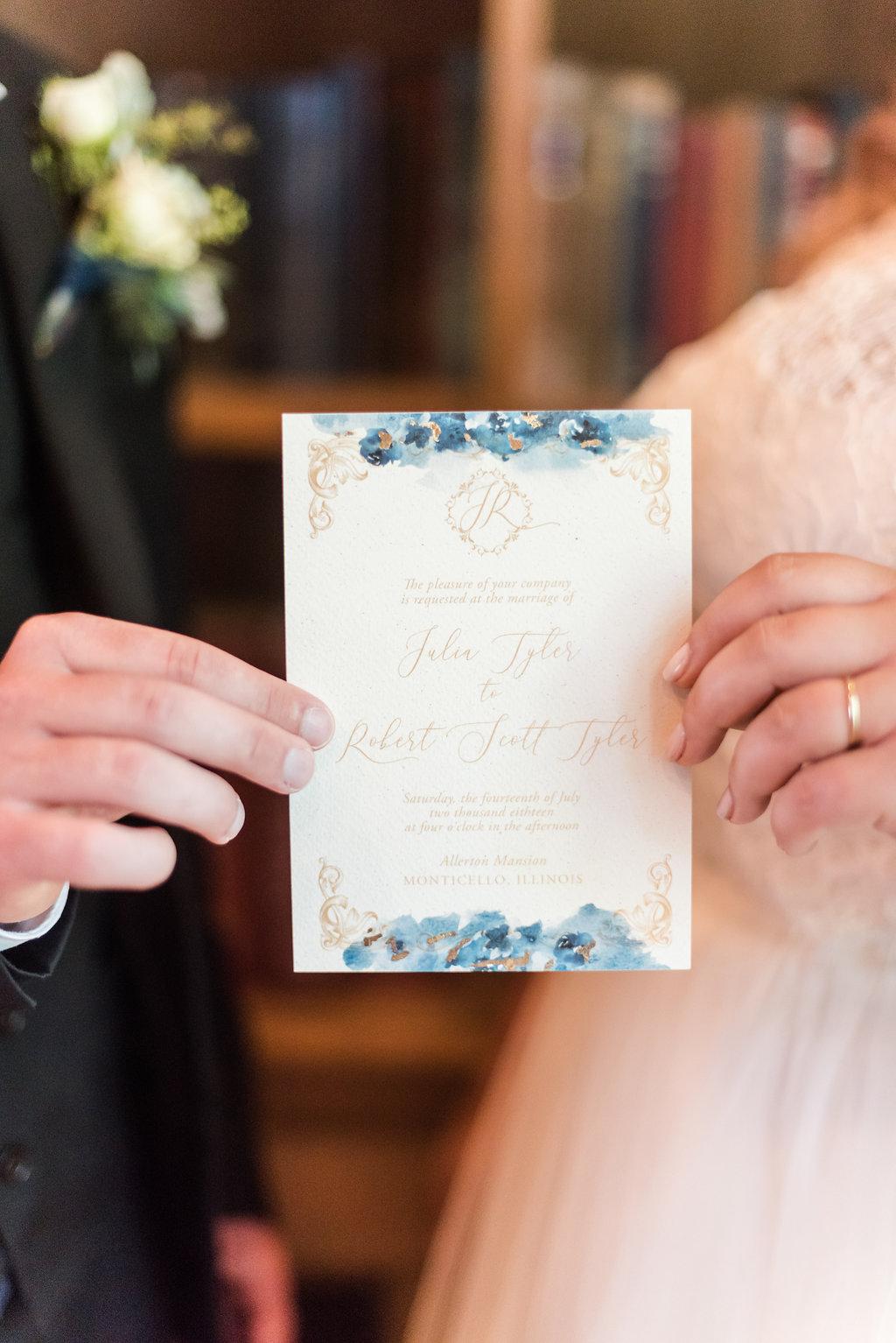 Navy and Gold Wedding Gown Chicago Wedding Rakoteet Photography