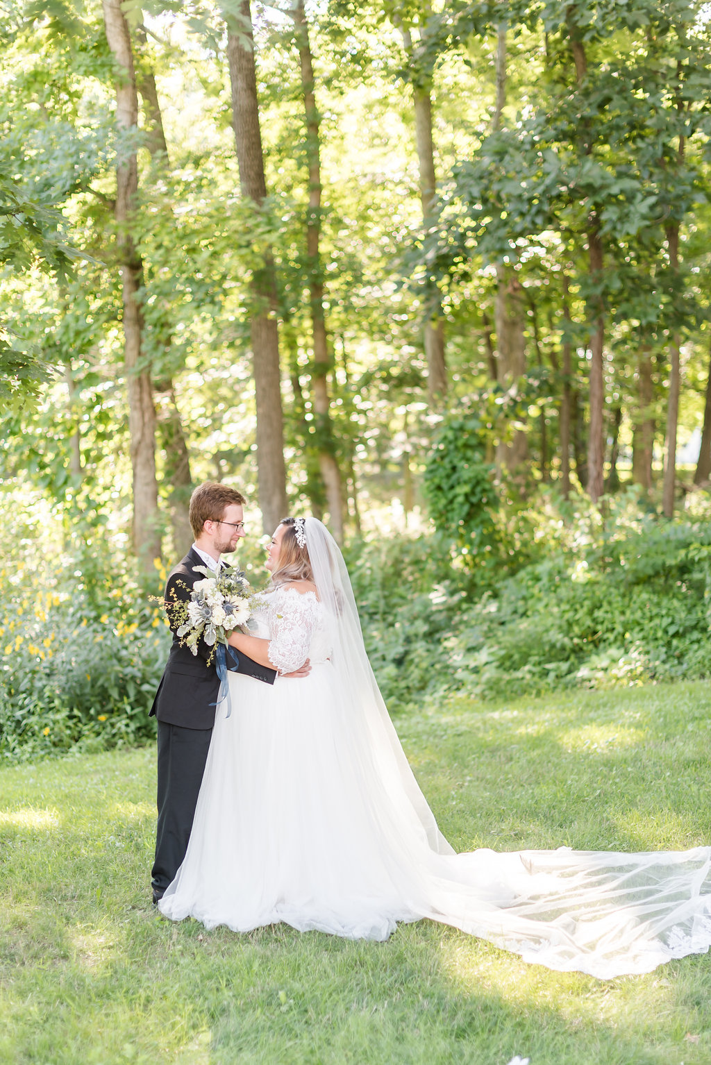 Quarter Sleeve Lace and Tulle Ball Gown Chicago Wedding Rakoteet Photography