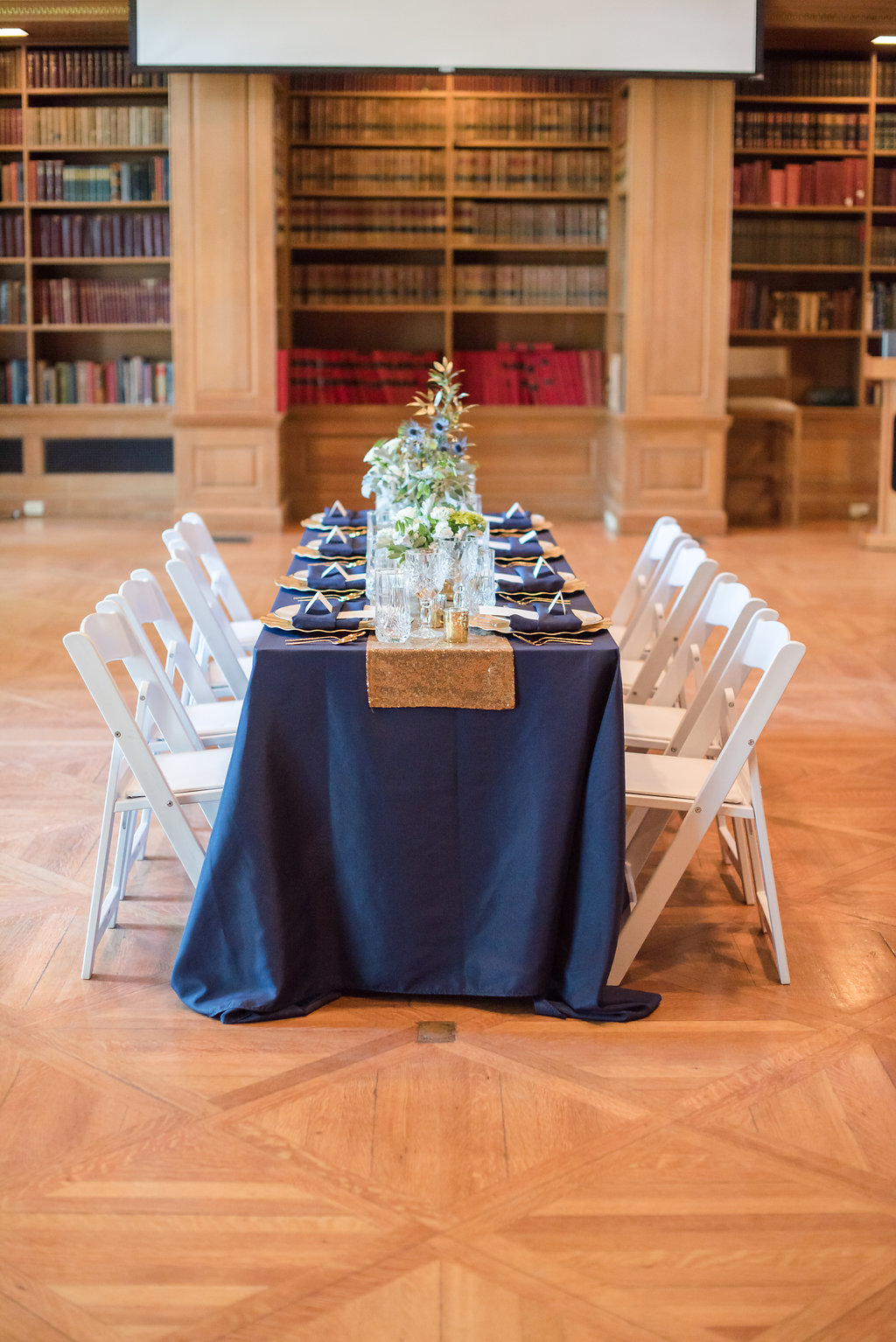 Navy and Gold Table Settings Chicago Wedding Rakoteet Photography