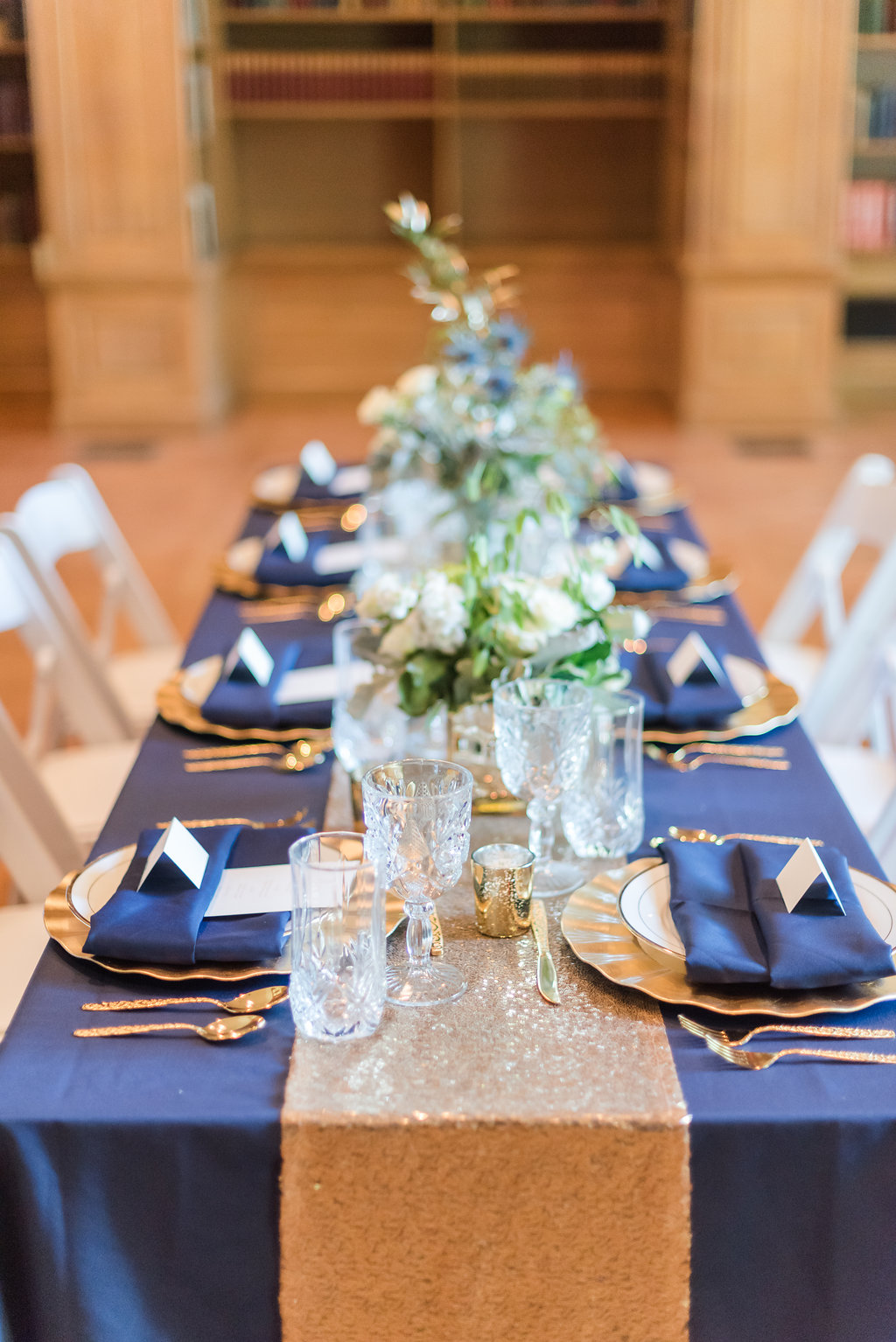 Navy and Blue Table Setting Chicago Wedding Rakoteet Photography