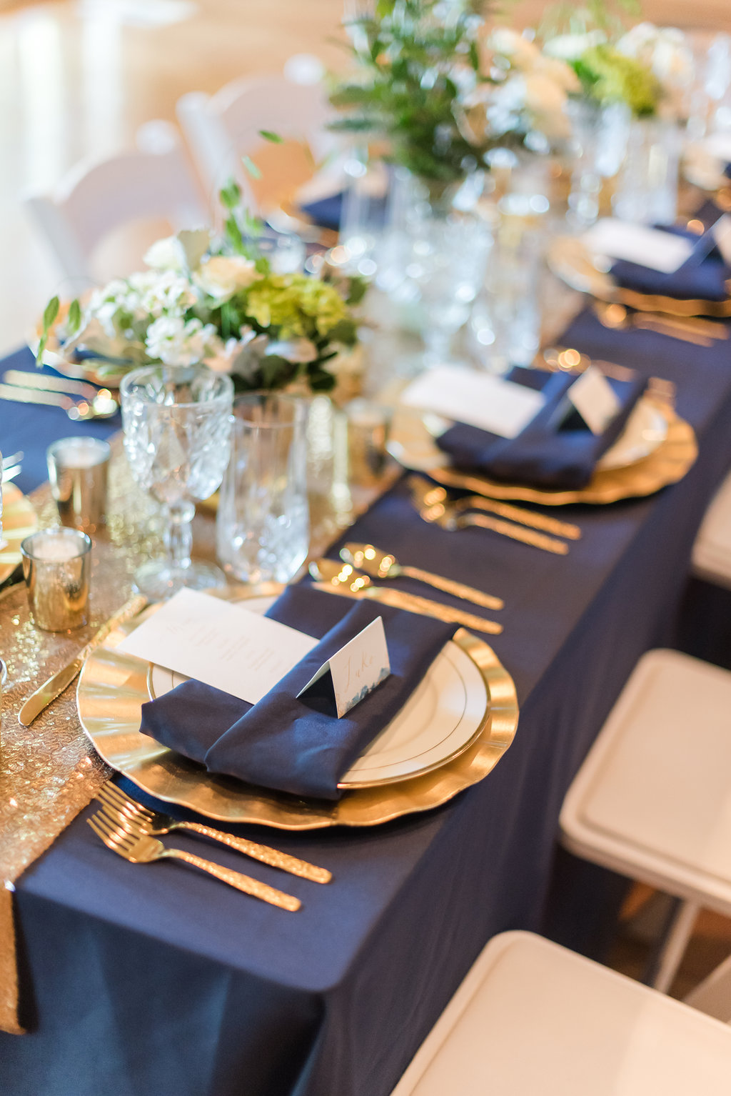 Navy and Gold Table Pieces Chicago Wedding Rakoteet Photography