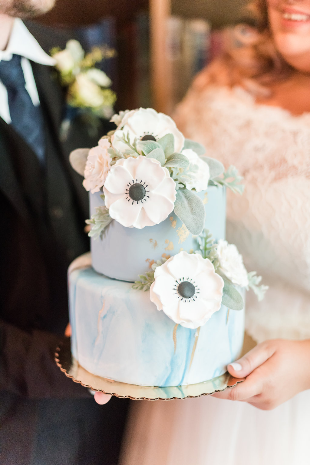 Two Tiered Blue and Gold Wedding Cake Chicago Wedding Rakoteet Photography