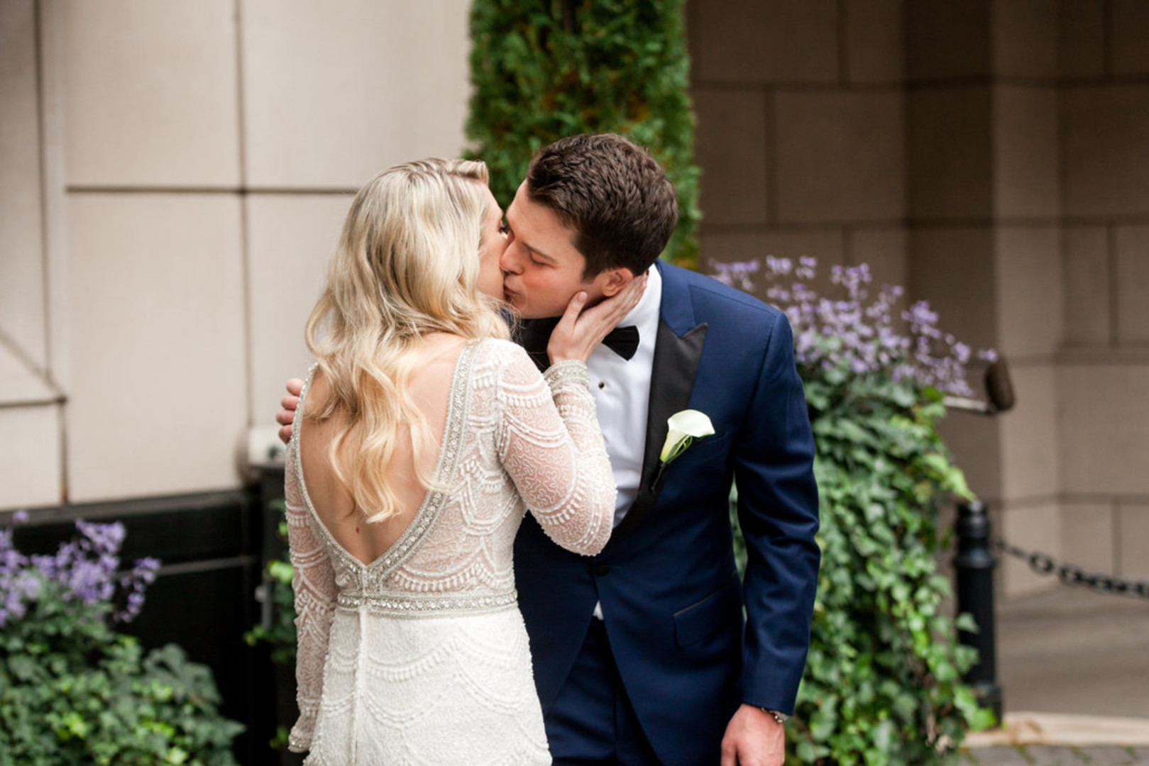 Low Back Embroidered Wedding Gown Chicago Wedding Julia Franzosa Photography
