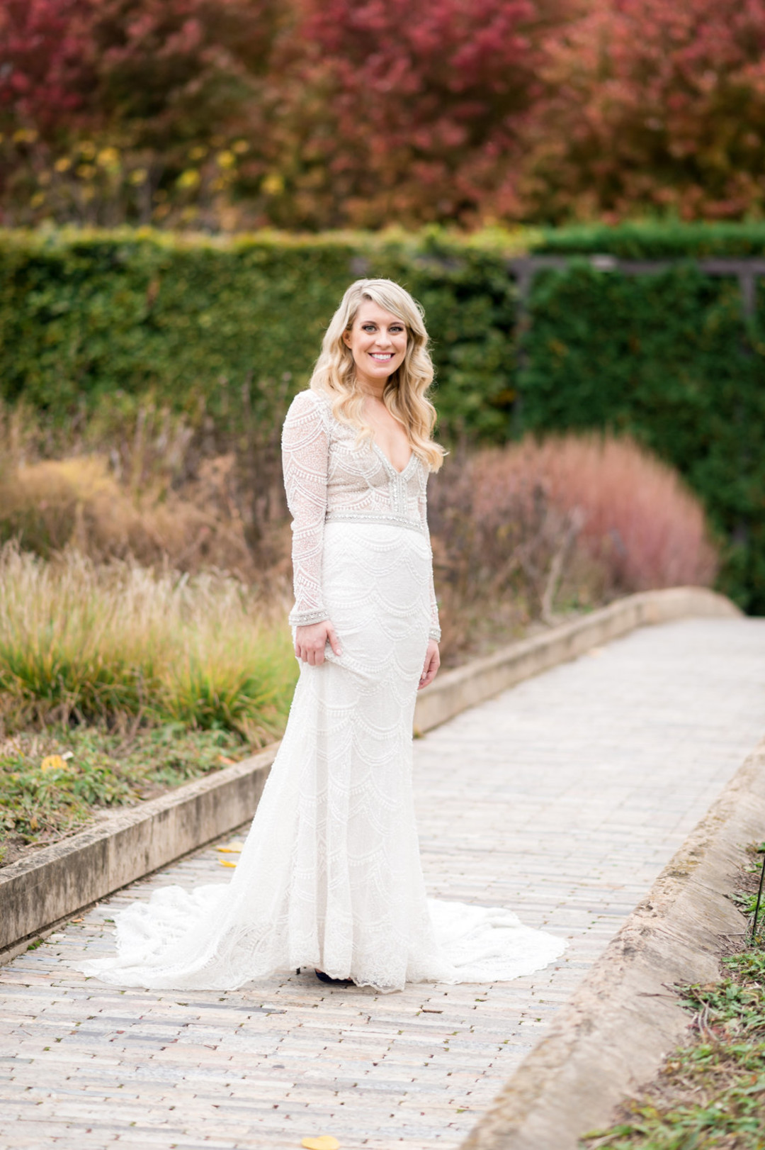 Long Sleeve Lace Elegant Bridal Gown Chicago Wedding Julia Franzosa Photography