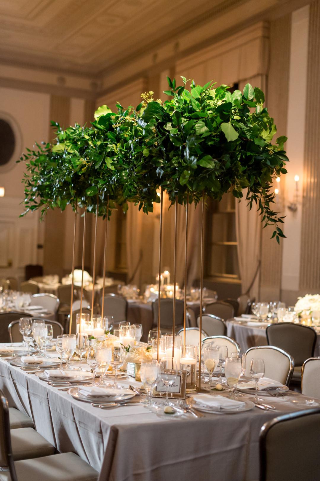 Elegant Greenery Center Pieces The Standard Room Chicago Wedding Julia Franzosa Photography