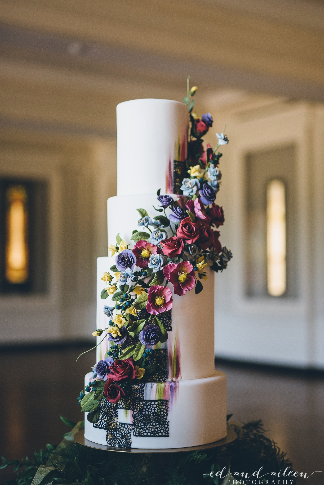 4 Tiered Floral Wedding Cake Chicago Wedding Ed and Aileen Photography
