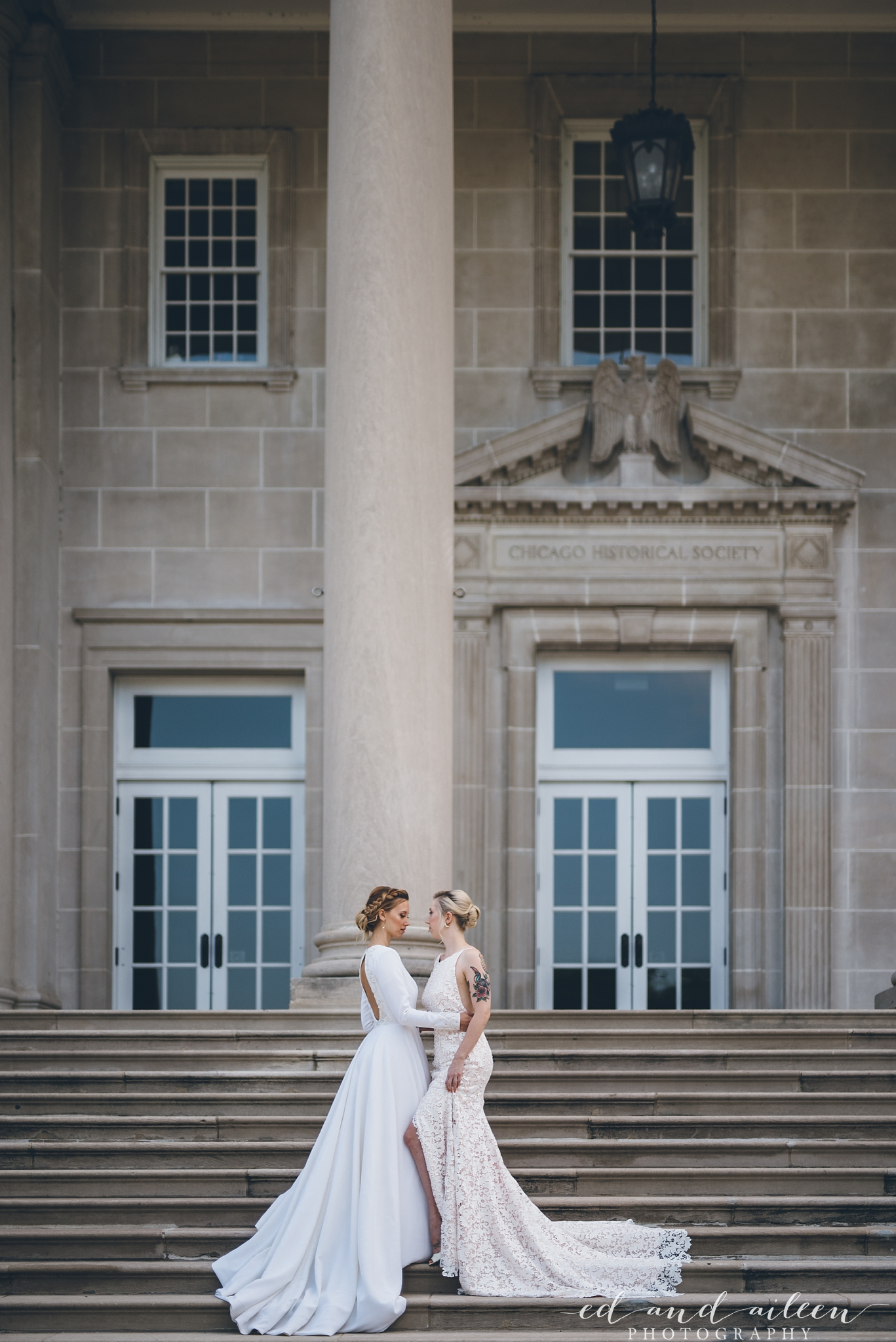 Floral and Long Sleeve Bridal Gowns Chicago Wedding Ed and Aileen Photography
