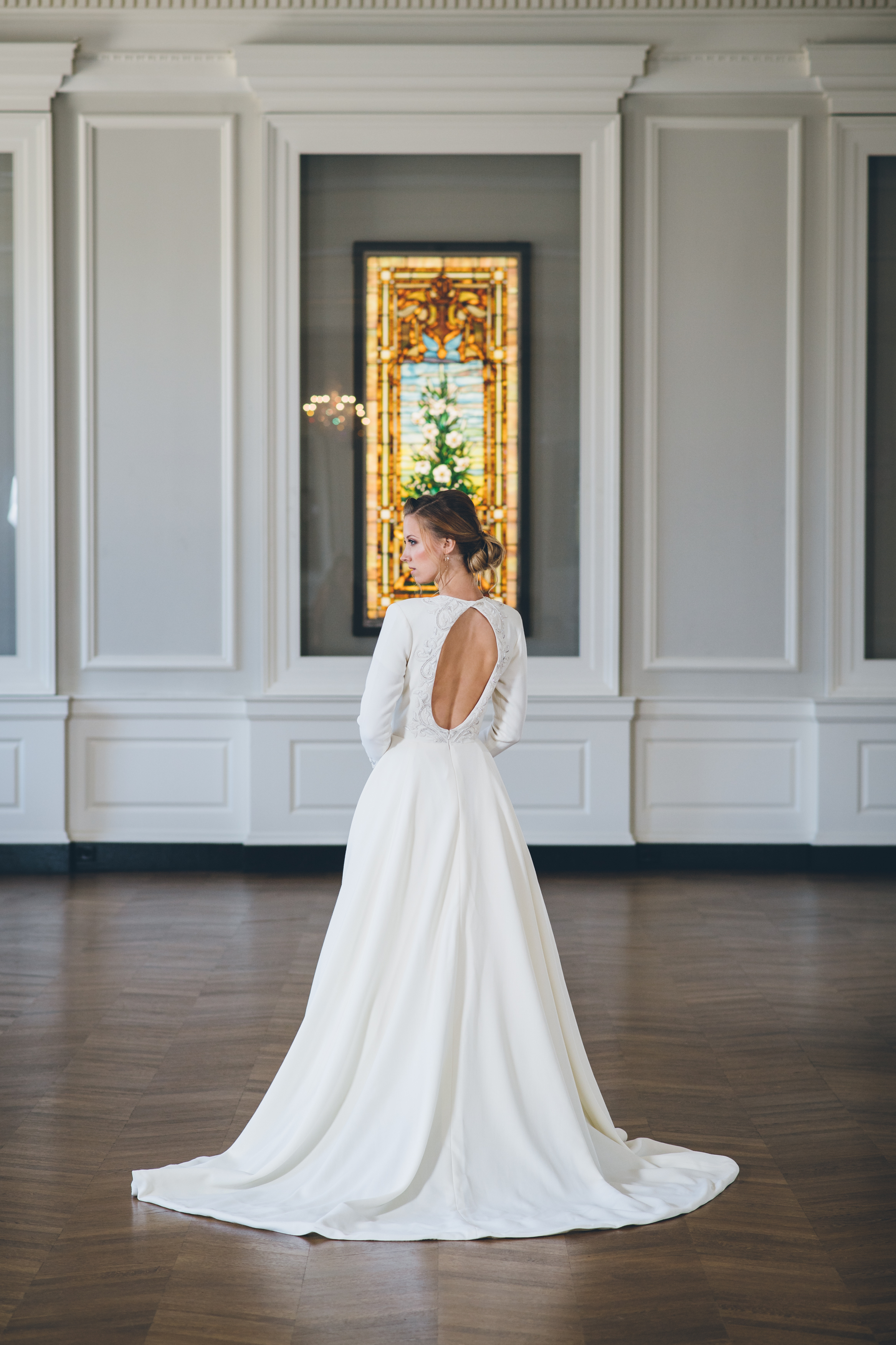 Long Sleeve Key Hole Back Wedding Gown Chicago Wedding Ed and Aileen Photography