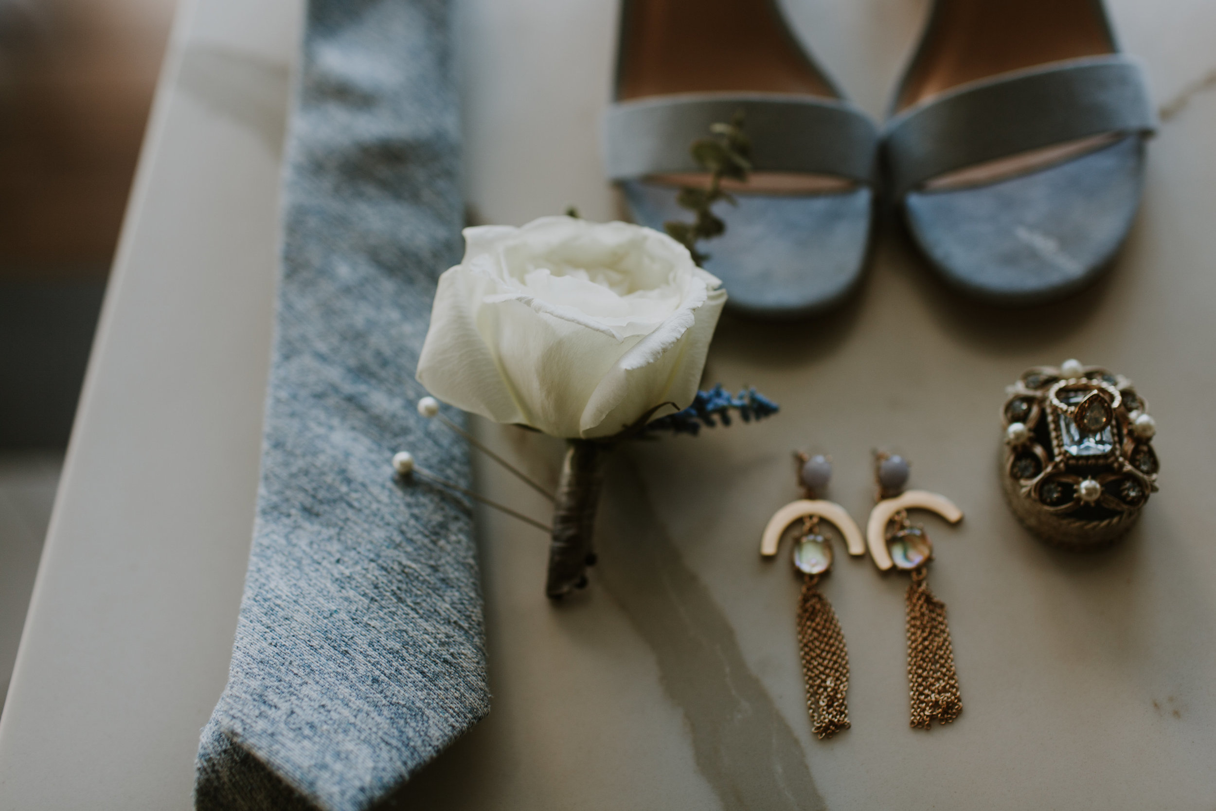 White Rose Boutonniere and Pale Blue Groom Accessories Gabrielle Daylor Photography