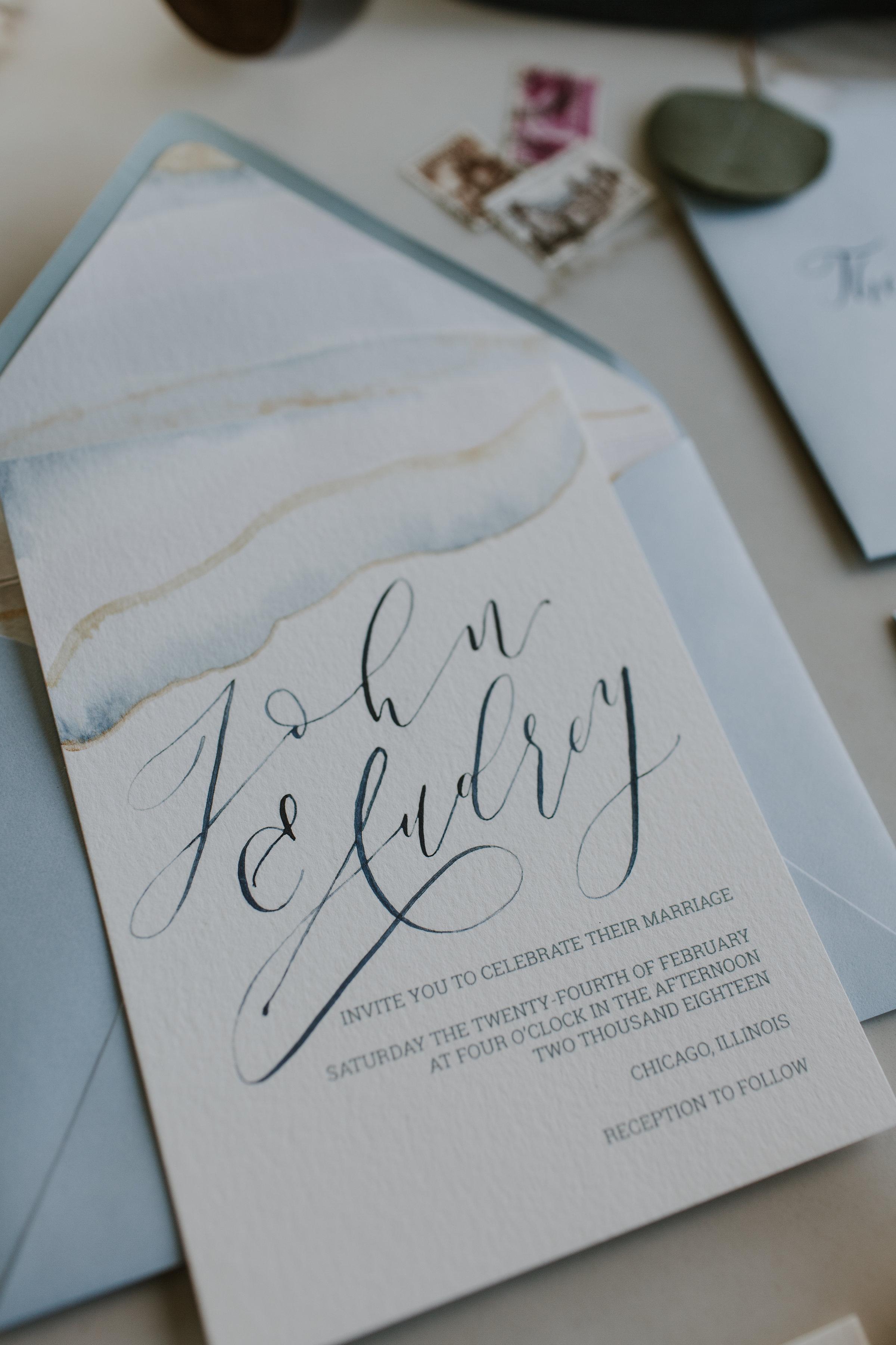 Pale Blue Vintage Invitation Chicago Wedding Gabrielle Daylor Photography