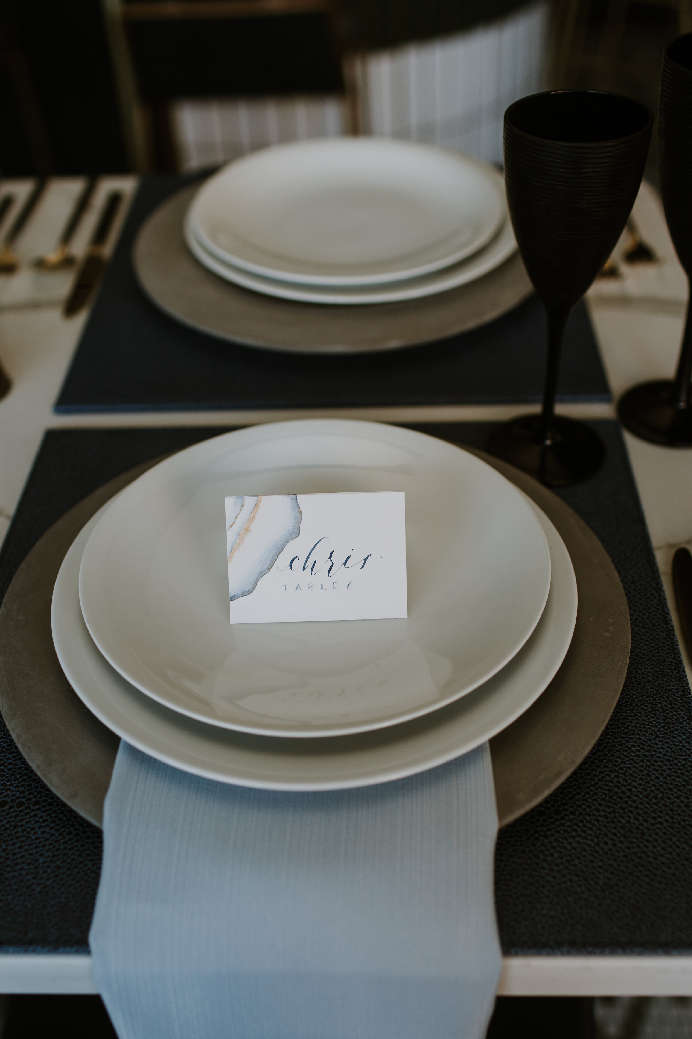 Pale Blue and Gold Accent Table Setting Chicago Wedding Gabrielle Daylor Photography