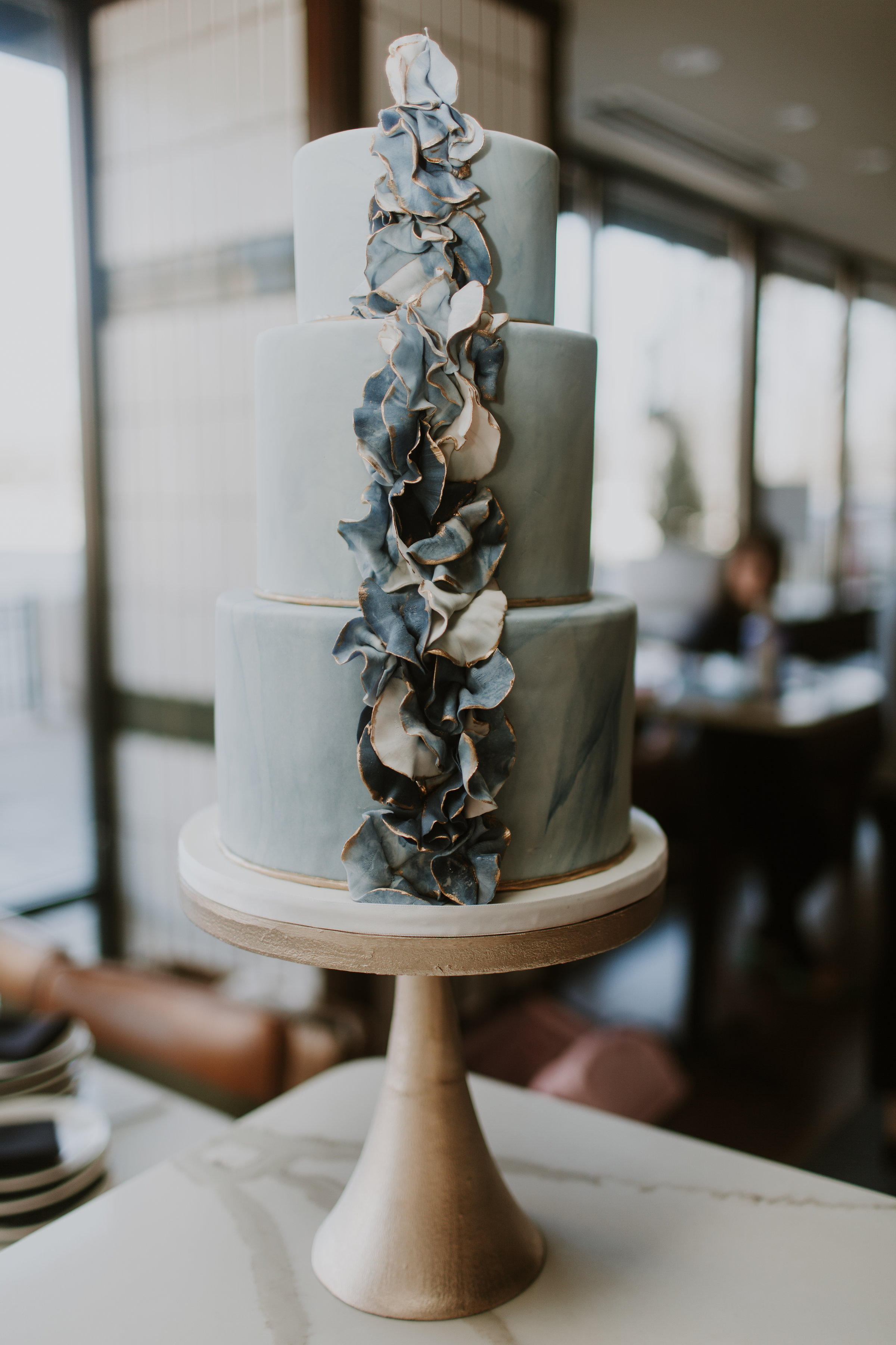 Pale Blue and Greenery Wedding Cake Gabrielle Daylor Photography