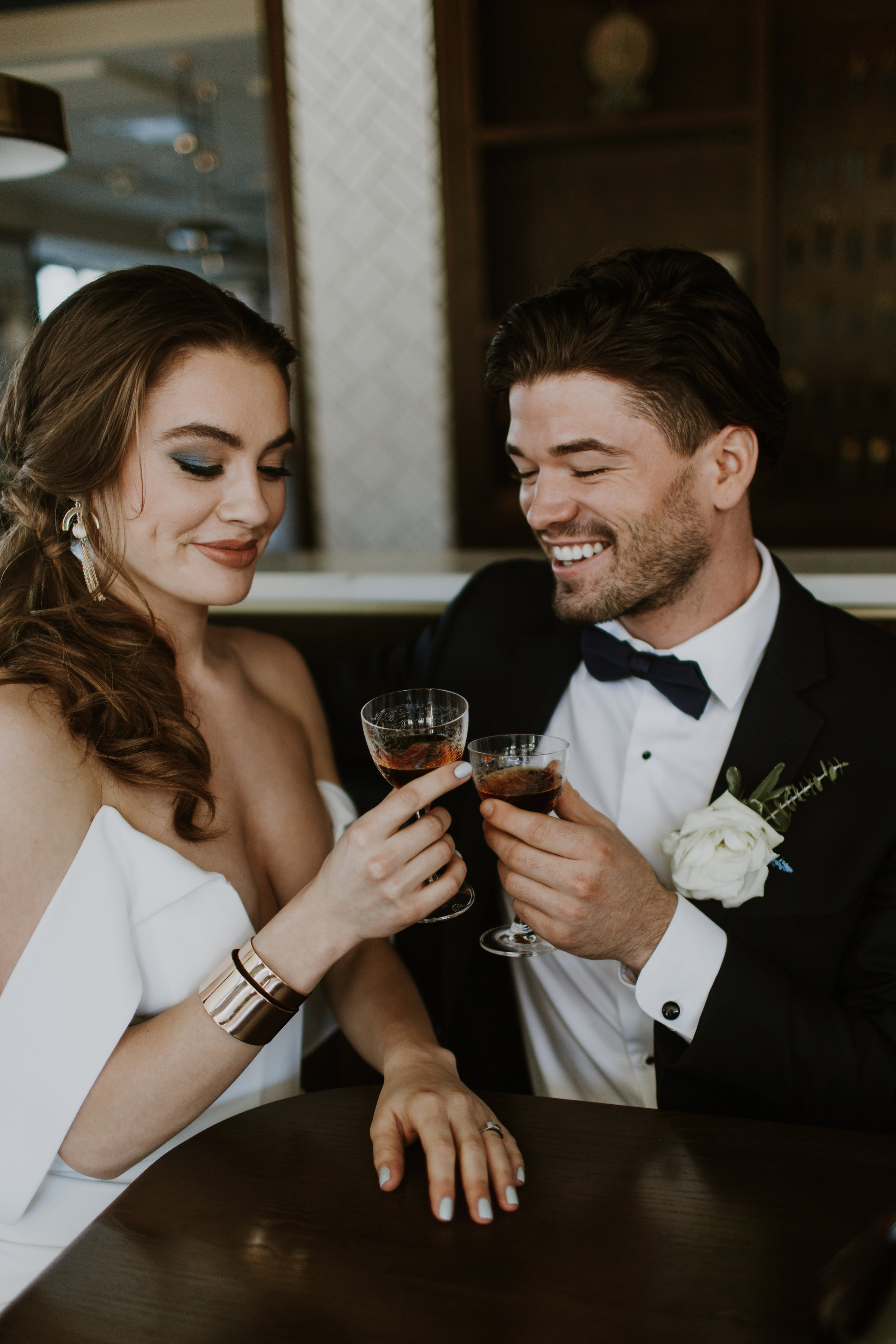 Bride and Groom Candid Chicago Rooftop Wedding Gabrielle Daylor Photography