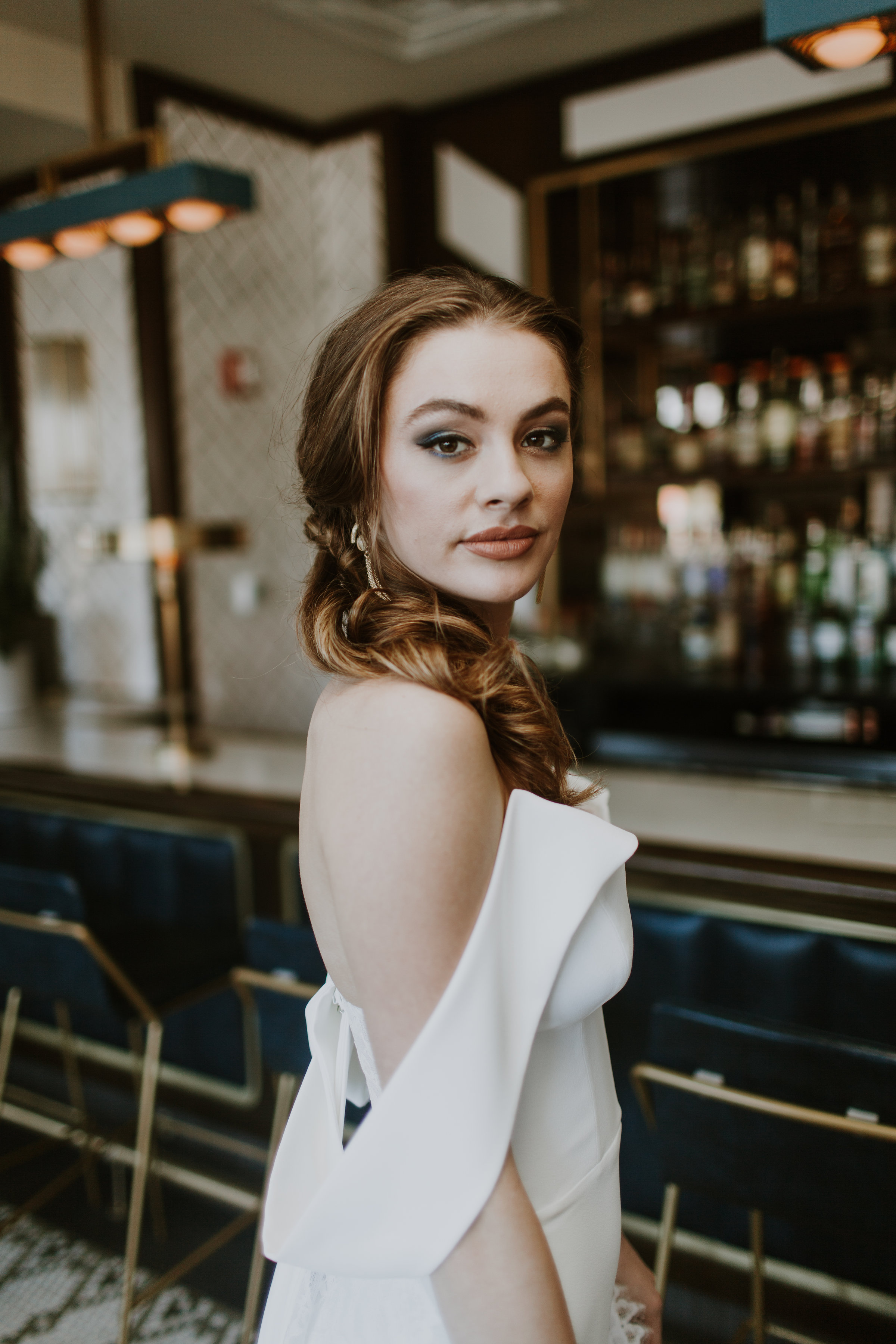 Off the Shoulder Sultry Bridal Gown Chicago Wedding Gabrielle Daylor Photography
