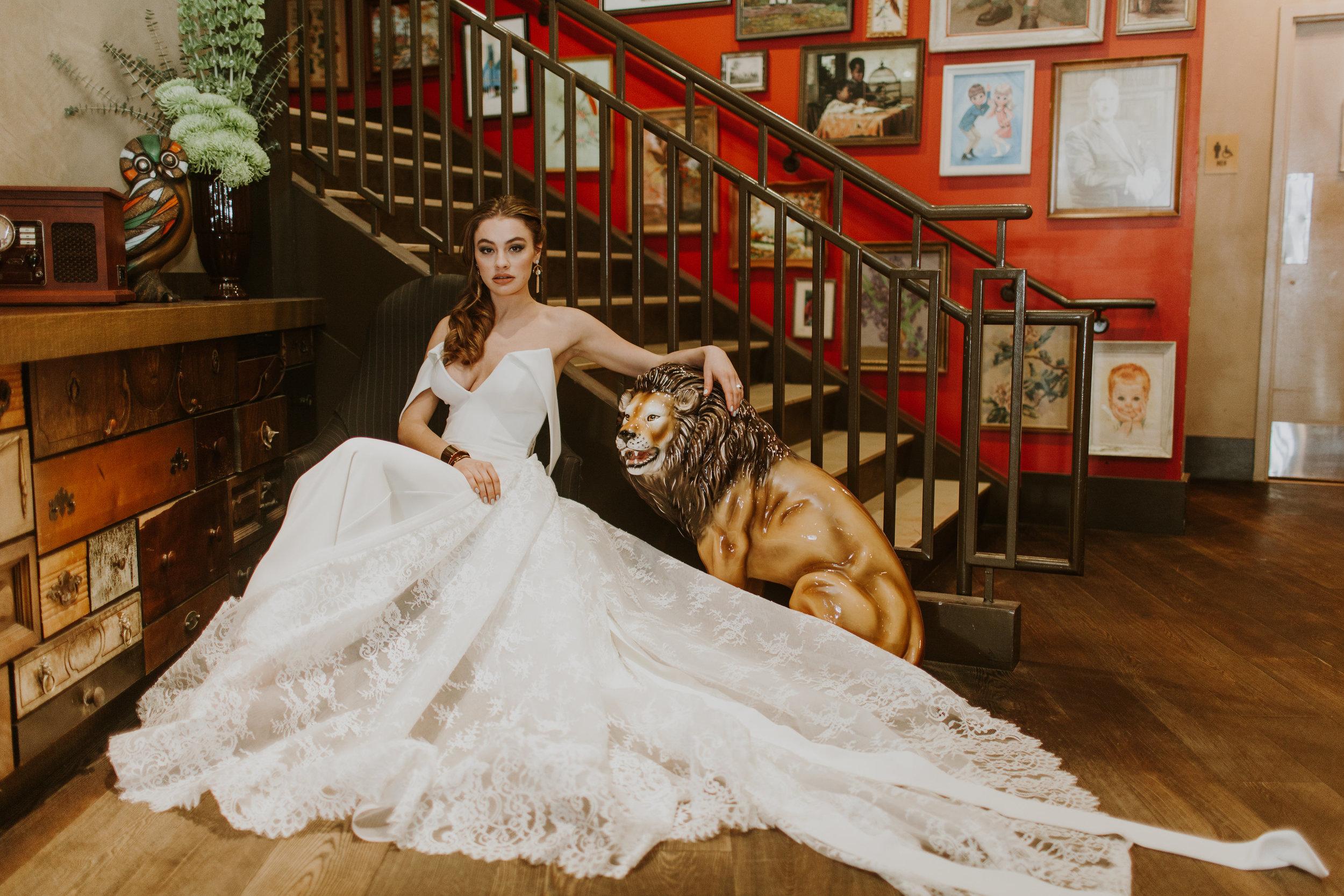 Bridal Portrait Off the Shoulder Sexy LaceWeddingGown Chicago Wedding Gabrielle Daylor Photography