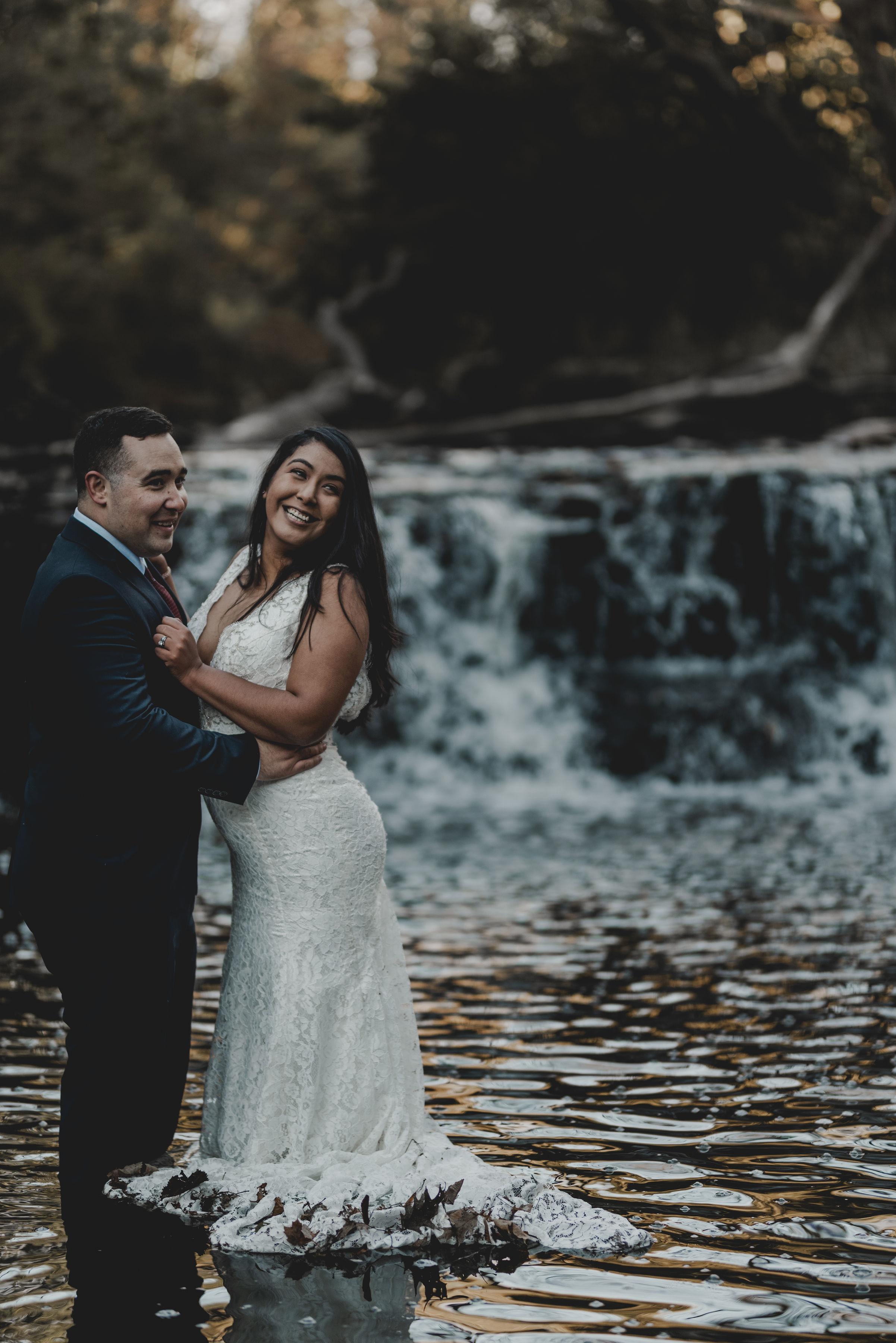 Bride and Groom Portrait Waterfall Glen Chicago Elopement Jenn Marie Photography