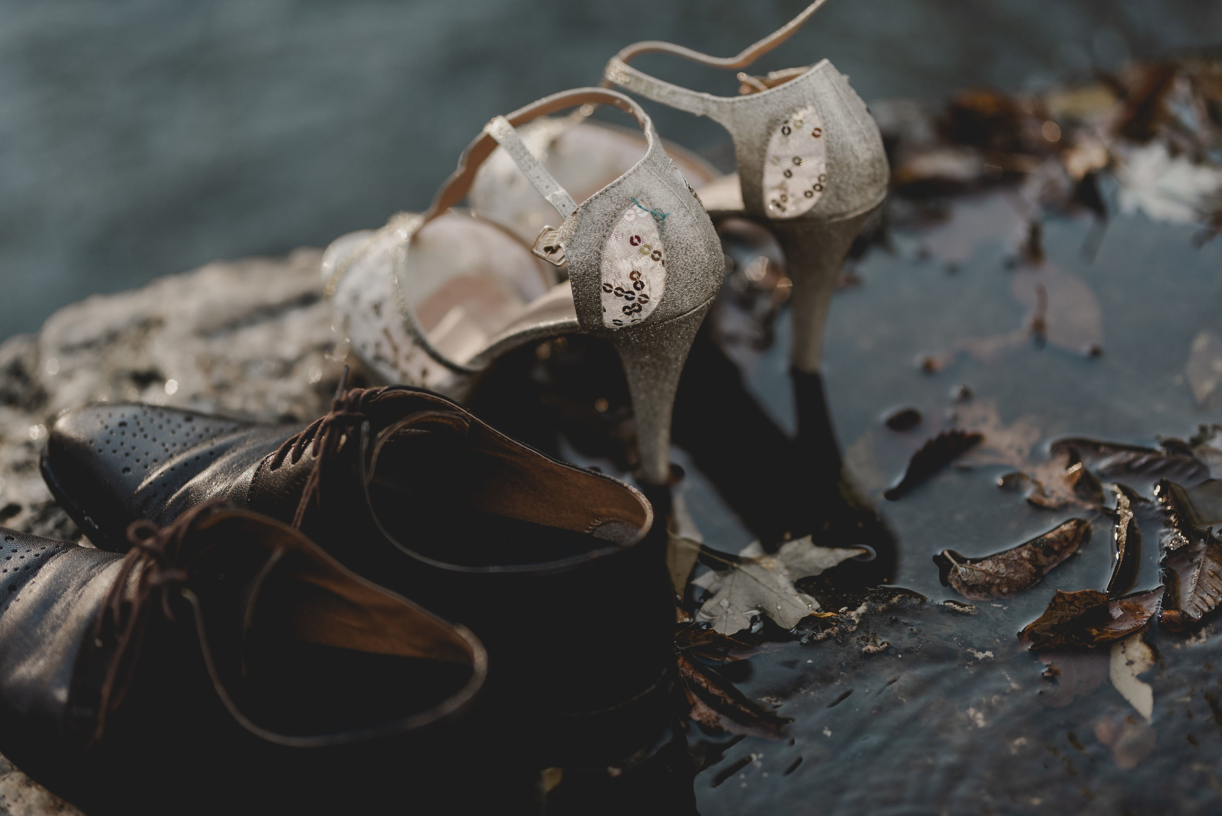 Bridal Gold Glitter Heels and Groom Brown Shoes Chicago Elopement Jenn Marie Photography