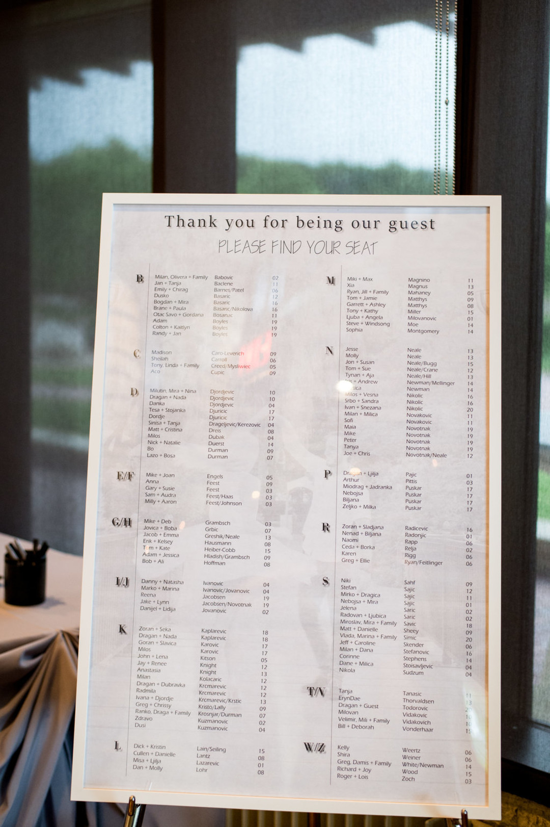 Seating Arrangement Sign Chicago Wedding Julia Franzosa Photography