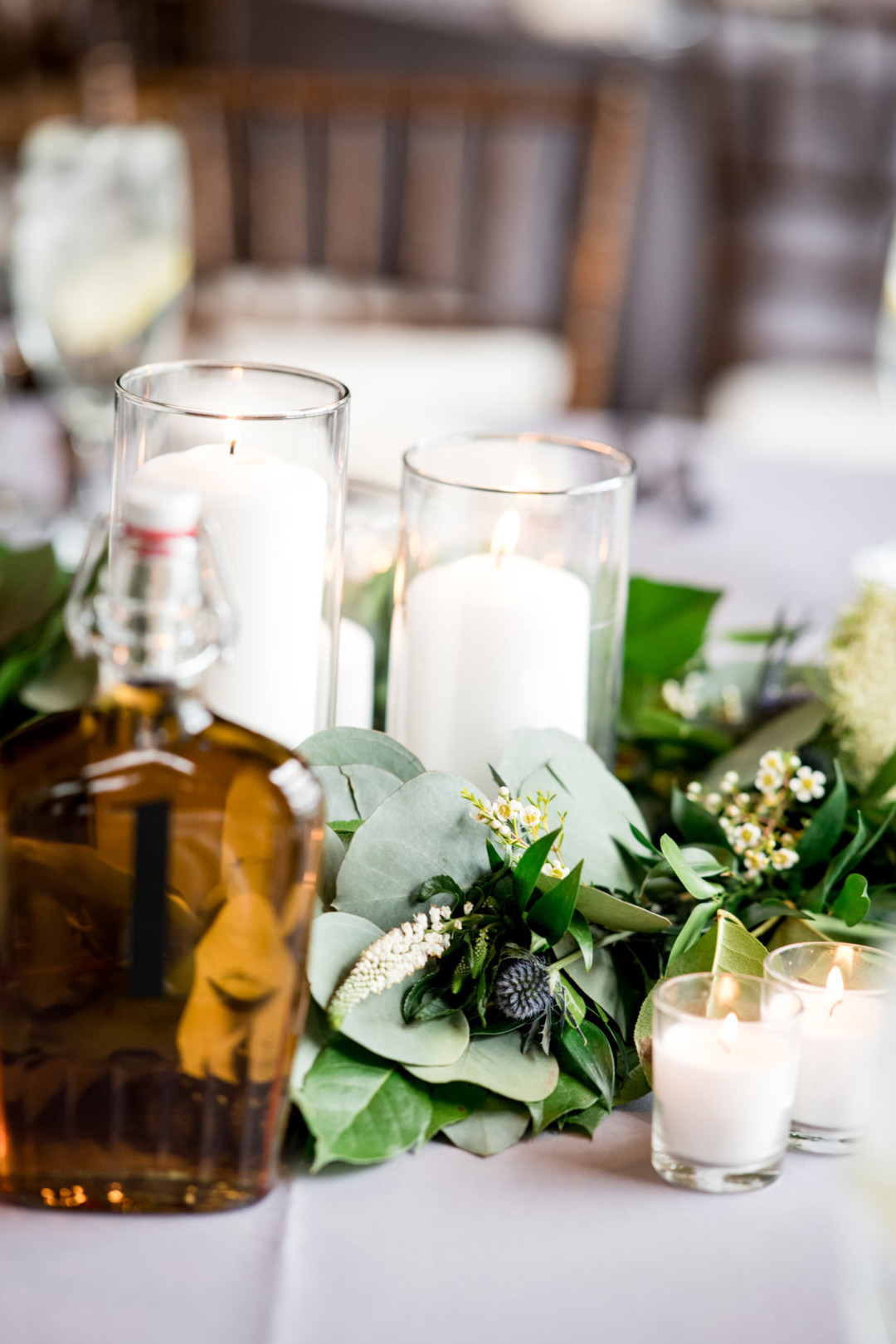Floral and Candle Elegant Centerpiece Chicago Wedding Julia Franzosa Photography