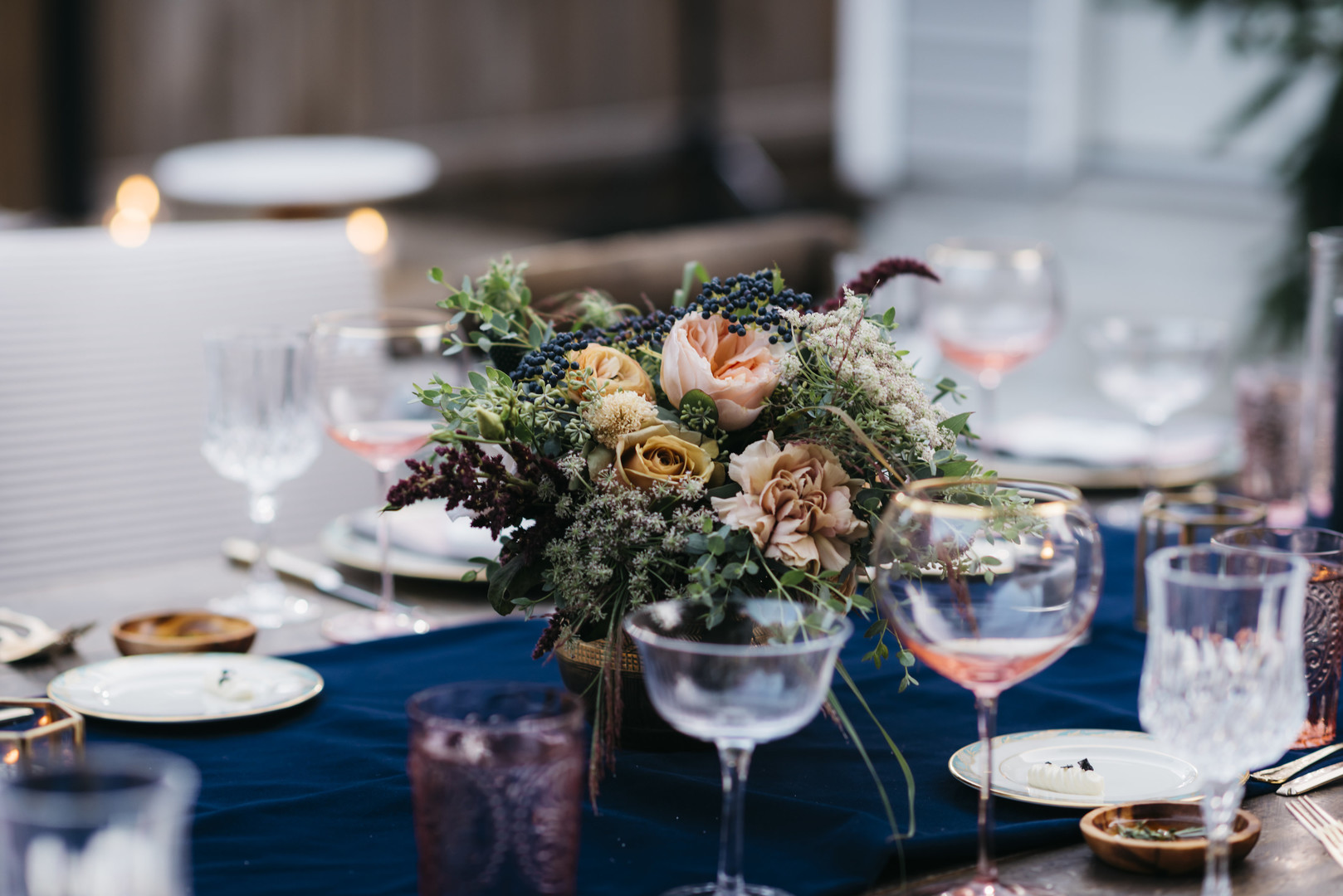 Floral Centerpiece Intimate Chicago Wedding Erin Hoyt Photography