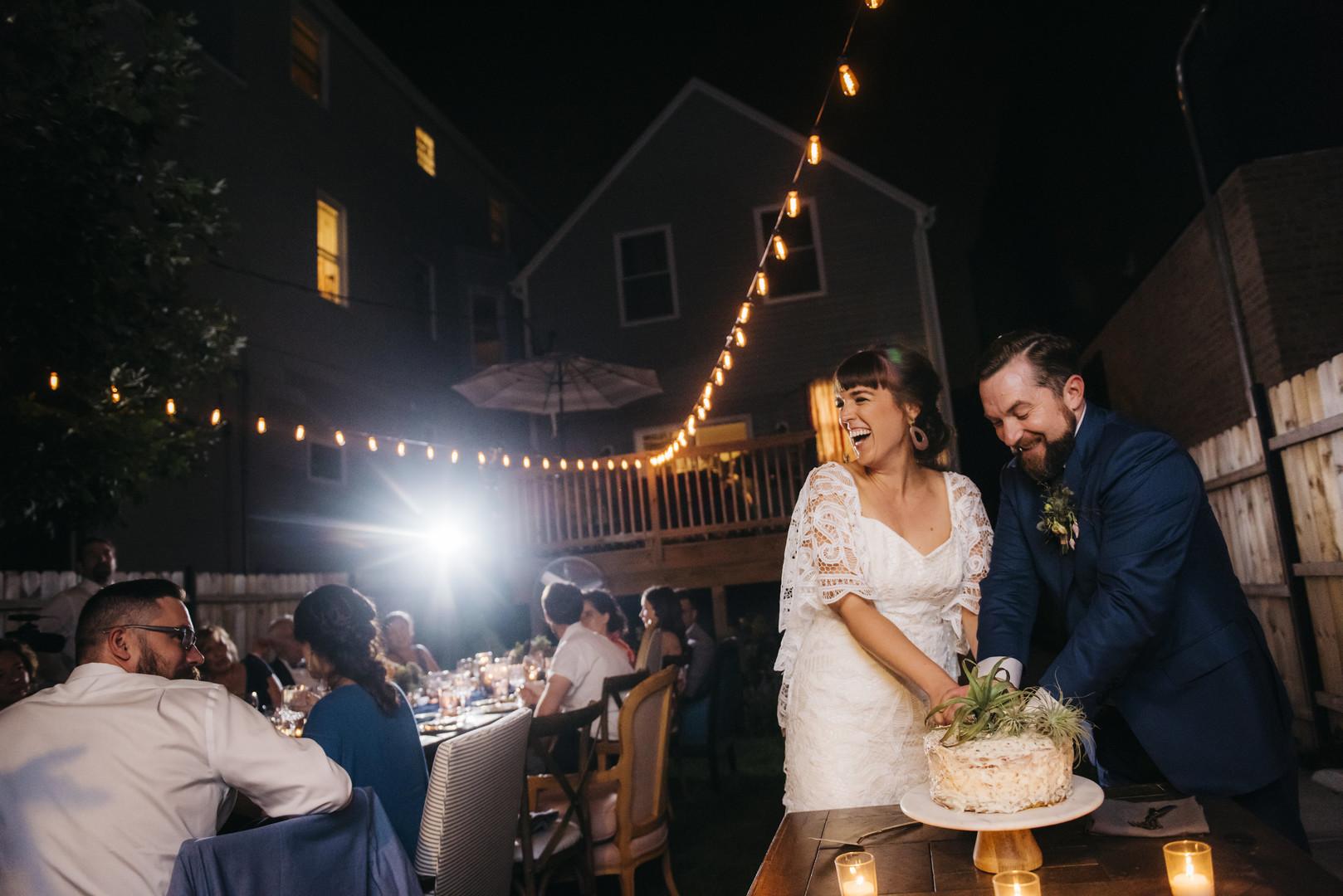 Cake Cutting Intimate Chicago Wedding Erin Hoyt Photography
