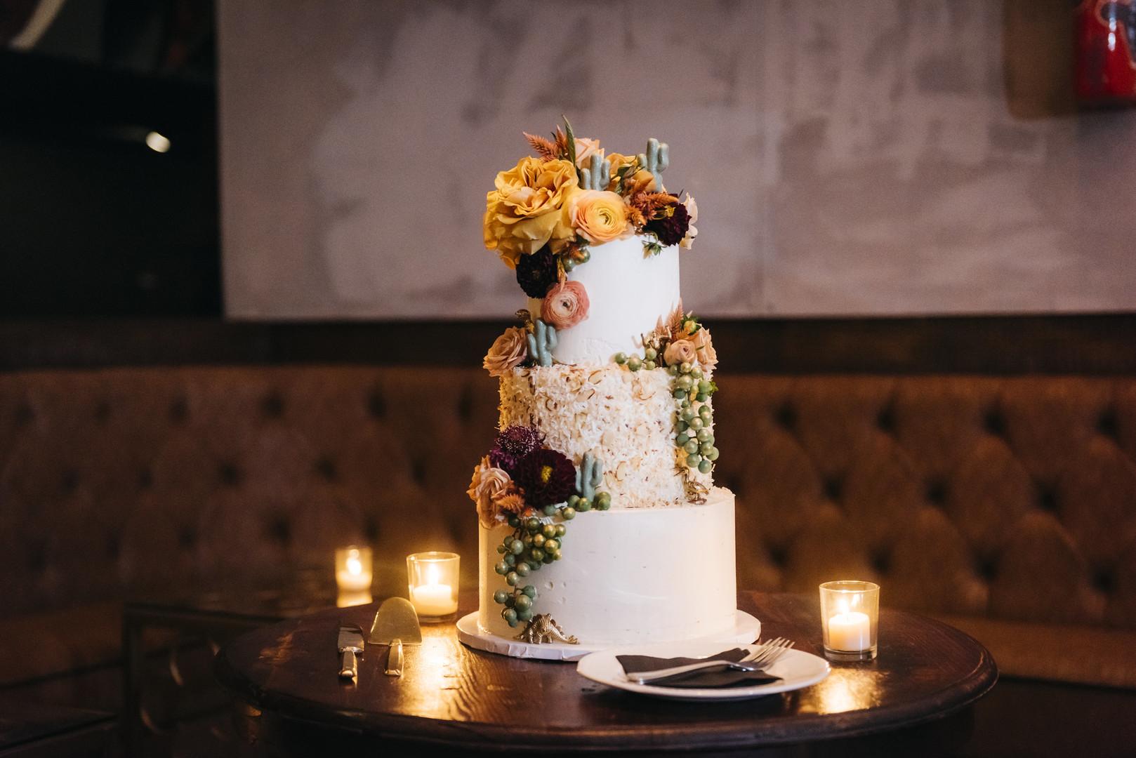 Colorful floral Wedding Cake Chicago Wedding Erin Hoyt Photography
