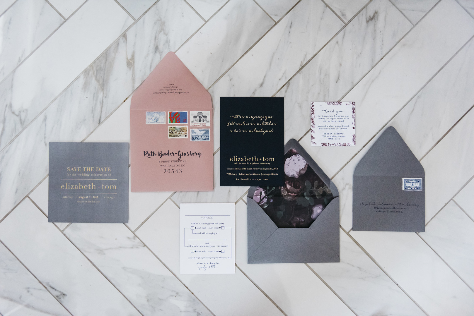 Grey and Pink Wedding Invitations Erin Hoyt Photography