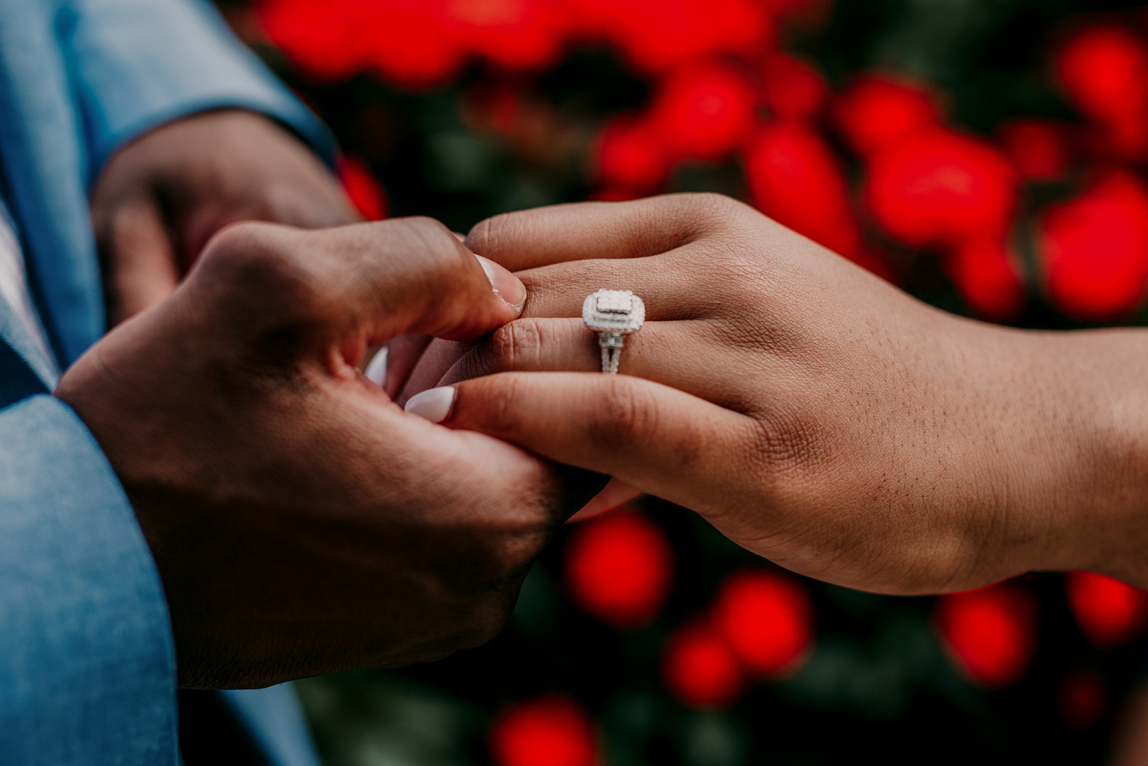 Double Halo Princess Cut Engagement Ring Chicago Engagement Session Emily-Melissa Photography LLC