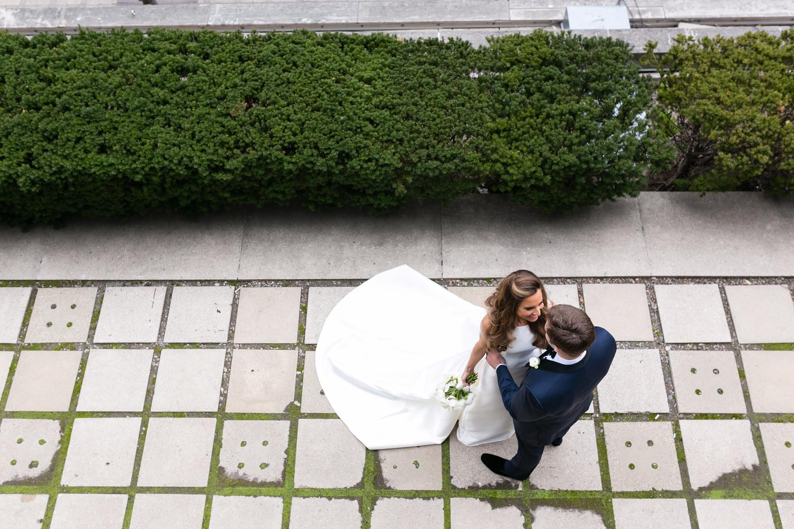 Overhead Bride and Groom Portrait Chicago Wedding Emilia Jane Photography