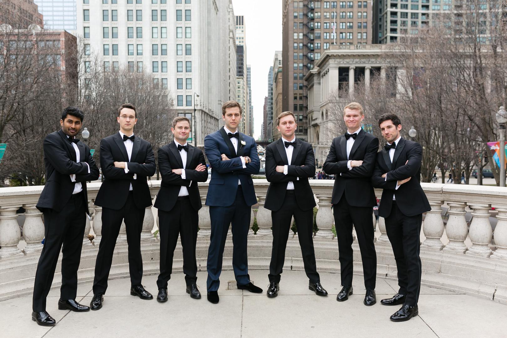 Black and Navy Groomsmen Suits Chicago Wedding Emilia Jane Photography