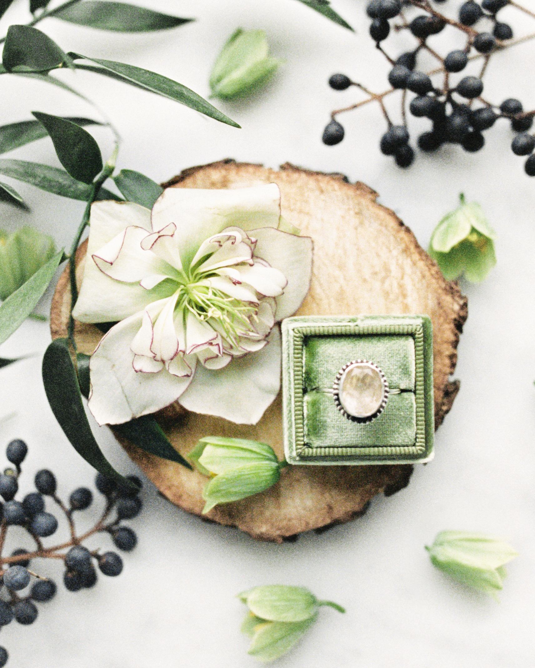 Wedding engagement ring with modern wedding venue, lots of natural light, and beautiful greenery for this Chicago wedding styled shoot. Find more wedding inspiration at chitheewed.com!