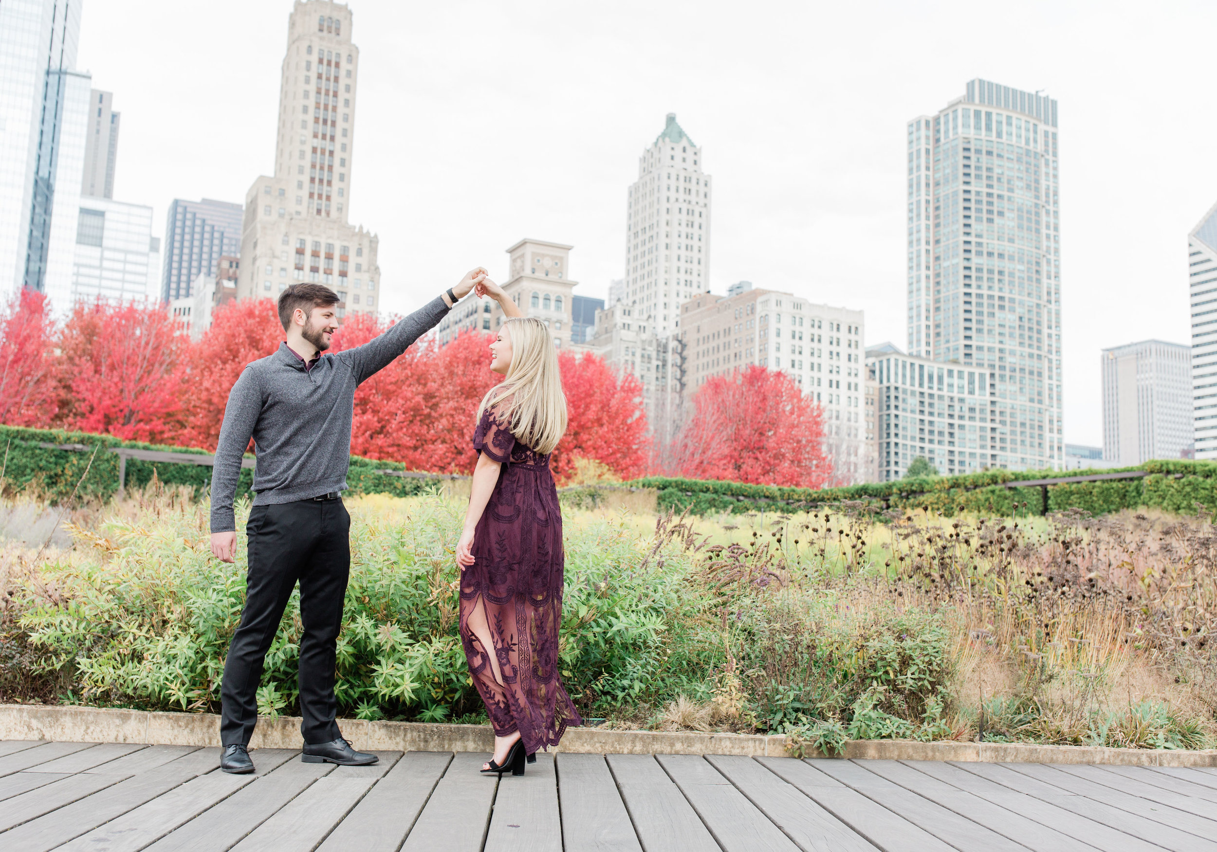 Chicago City Scape Engagement Session captured by Kenzie Leigh Photography. See more engagement photo ideas at CHItheeWED.com!