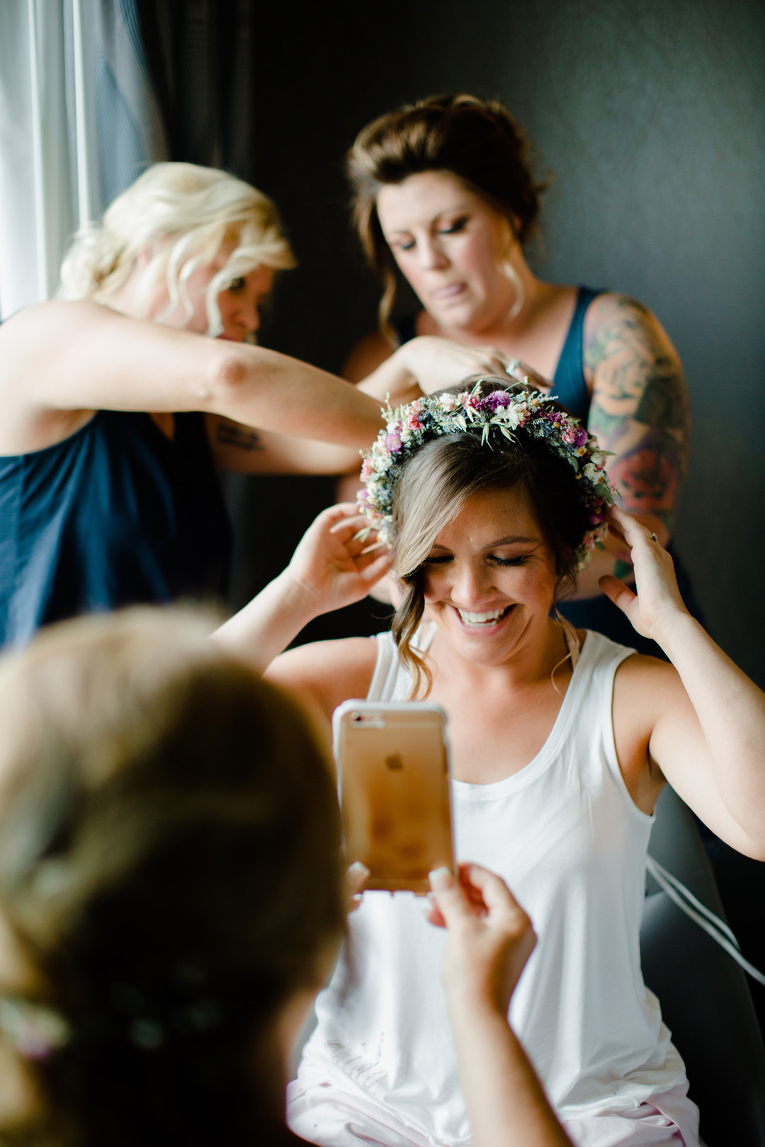 Bride getting ready: Rustic country wedding in Minooka, IL captured by Katie Brsan Photography. Visit CHItheeWED.com for more wedding inspiration!