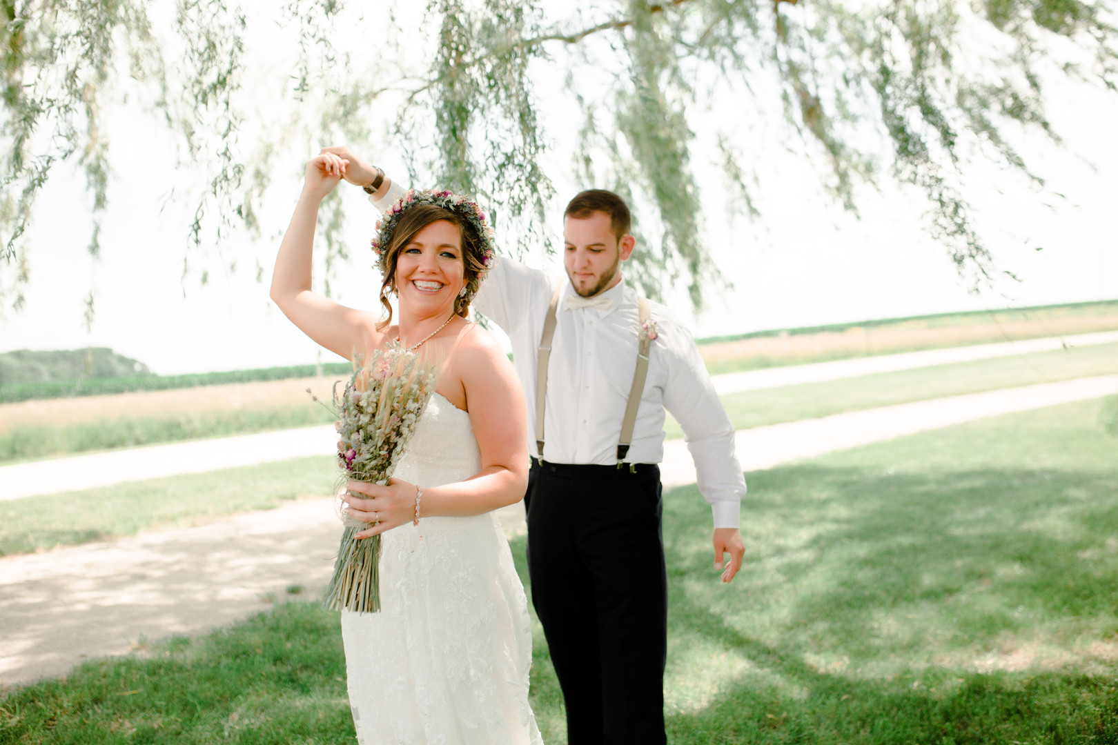 Wedding first look: Rustic country wedding in Minooka, IL captured by Katie Brsan Photography. Visit CHItheeWED.com for more wedding inspiration!
