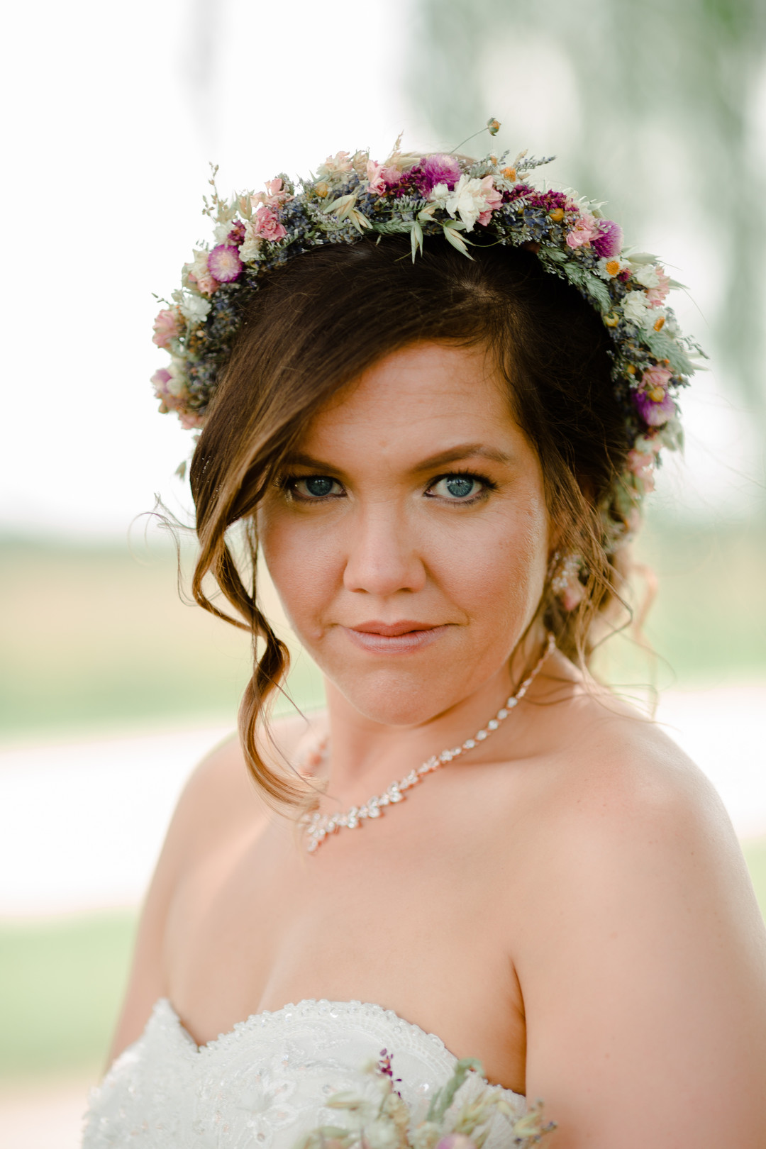Wedding flower crown: Rustic country wedding in Minooka, IL captured by Katie Brsan Photography. Visit CHItheeWED.com for more wedding inspiration!