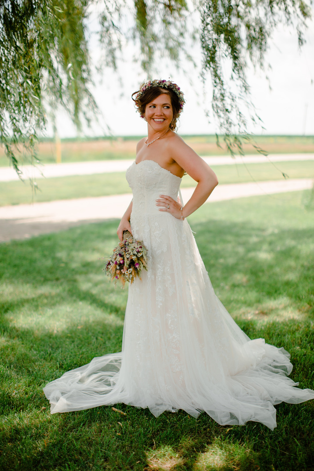 Bridal portrait: Rustic country wedding in Minooka, IL captured by Katie Brsan Photography. Visit CHItheeWED.com for more wedding inspiration!