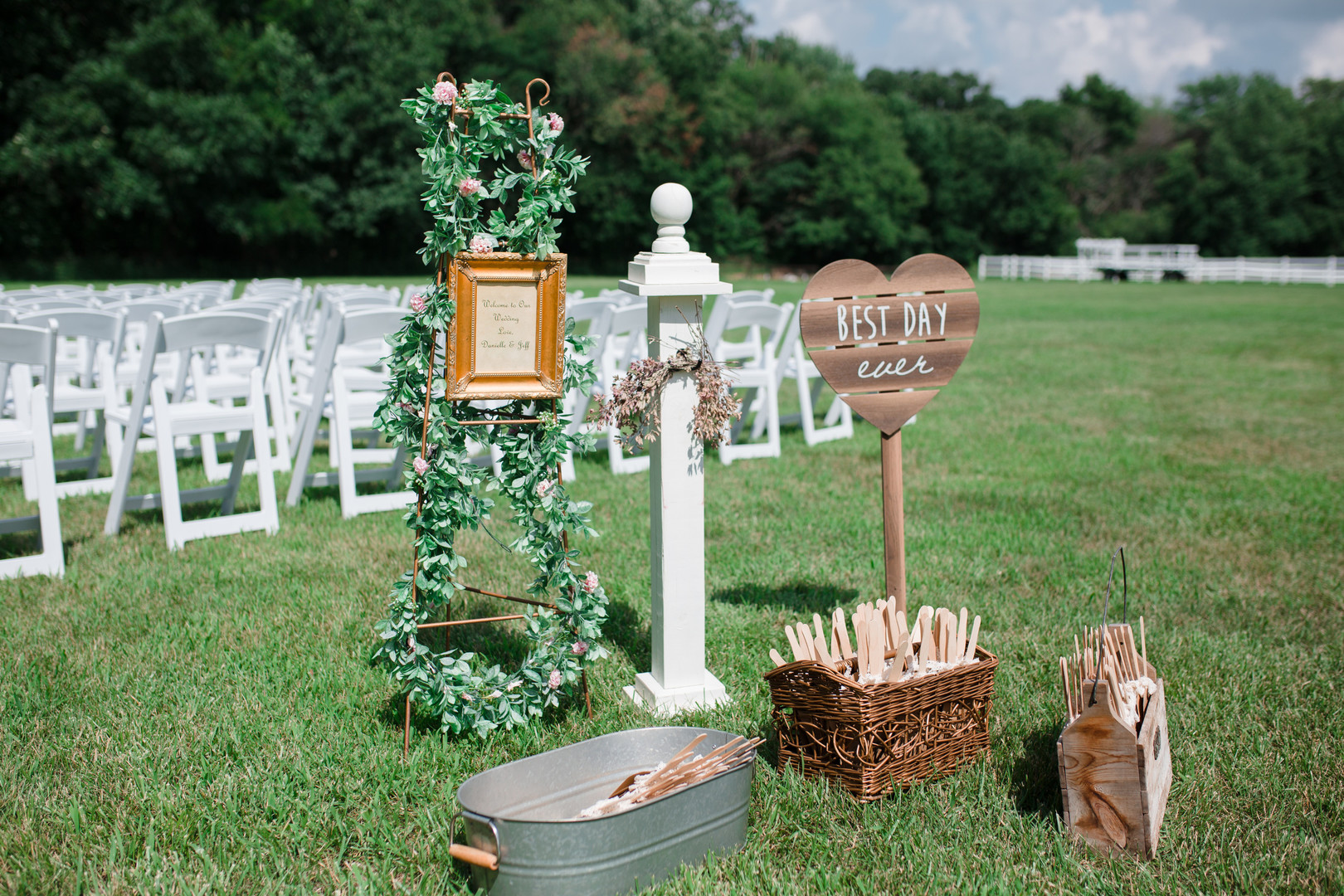 Wedding ceremony decor: Rustic country wedding in Minooka, IL captured by Katie Brsan Photography. Visit CHItheeWED.com for more wedding inspiration!