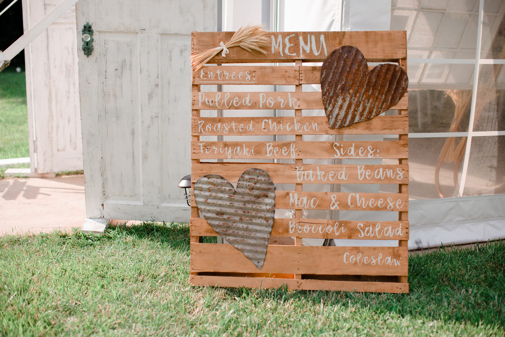 Wooden wedding menu sign: Rustic country wedding in Minooka, IL captured by Katie Brsan Photography. Visit CHItheeWED.com for more wedding inspiration!