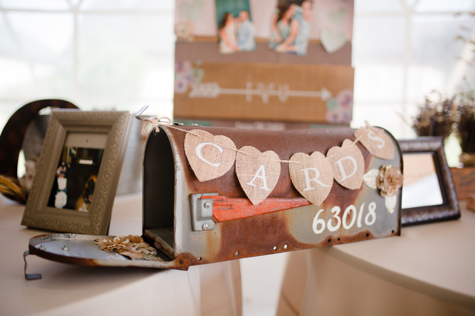 Wedding card table: Rustic country wedding in Minooka, IL captured by Katie Brsan Photography. Visit CHItheeWED.com for more wedding inspiration!
