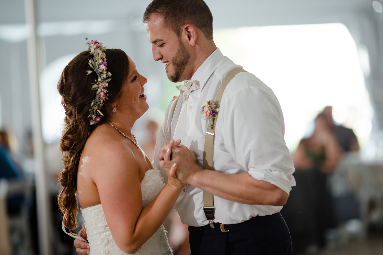 Bride and groom's first dance: Rustic country wedding in Minooka, IL captured by Katie Brsan Photography. Visit CHItheeWED.com for more wedding inspiration!
