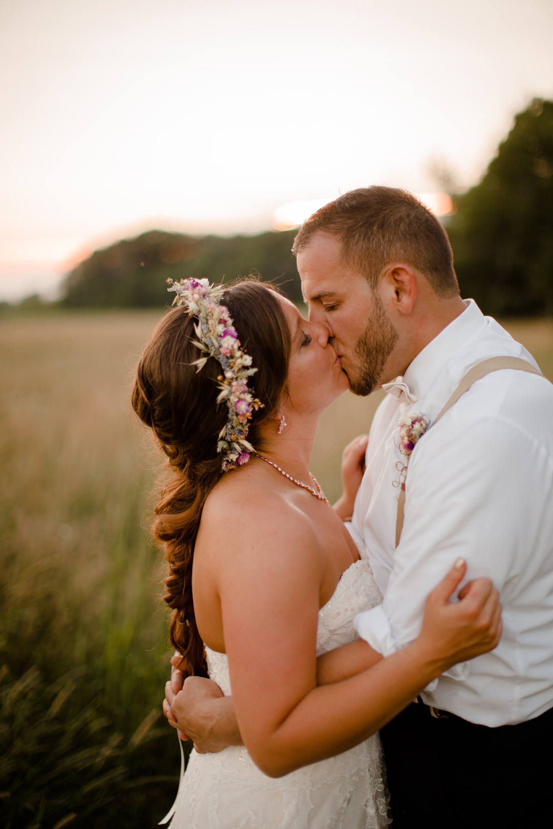 Golden hour wedding photos: Rustic country wedding in Minooka, IL captured by Katie Brsan Photography. Visit CHItheeWED.com for more wedding inspiration!