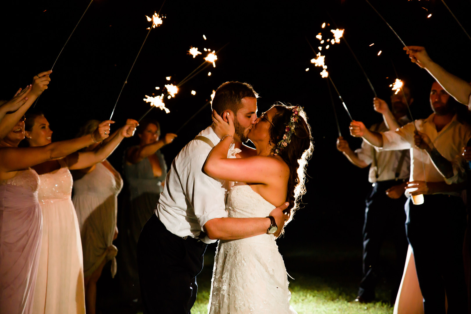Wedding exit: Rustic country wedding in Minooka, IL captured by Katie Brsan Photography. Visit CHItheeWED.com for more wedding inspiration!